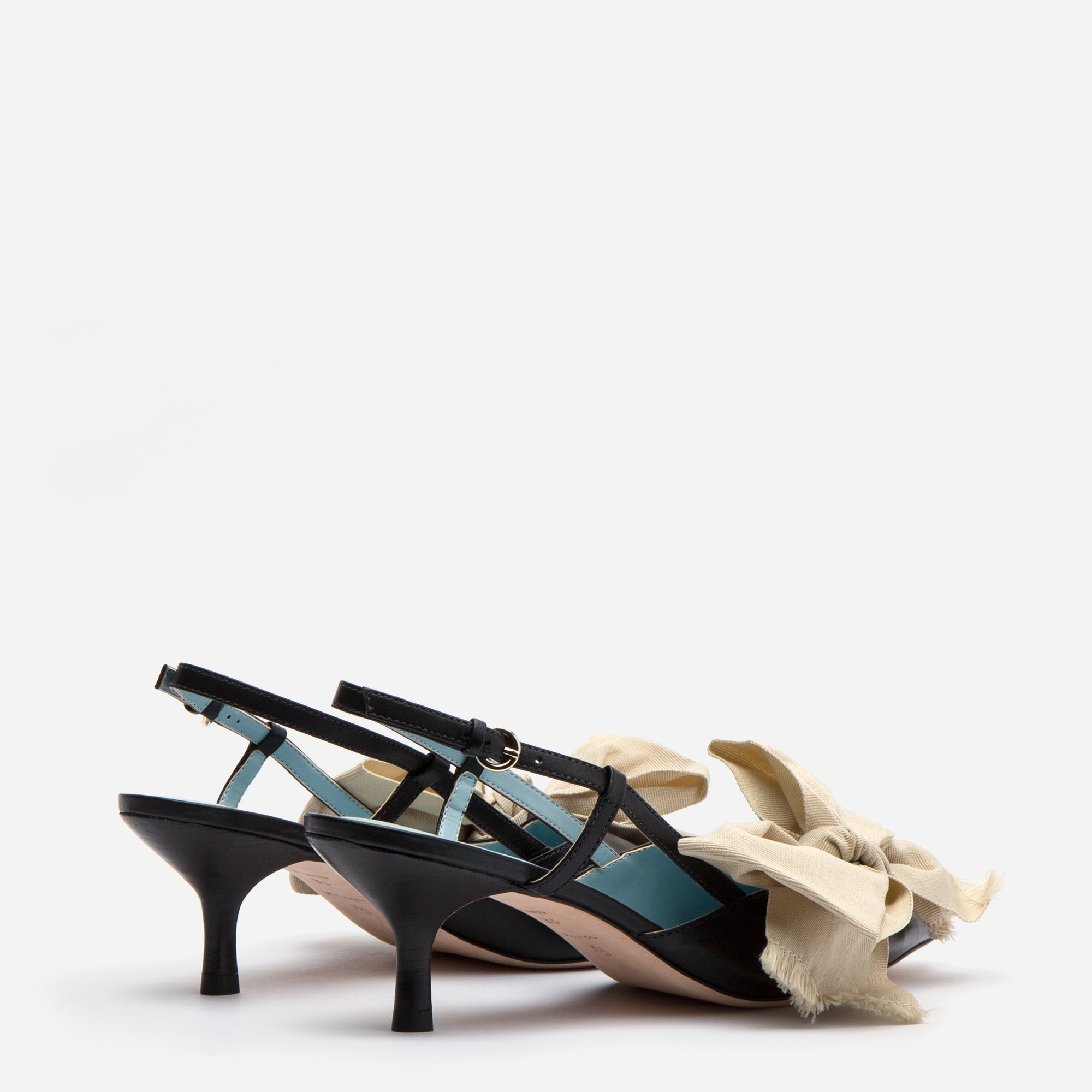 Grace Bow Kitten Heel Black Oyster