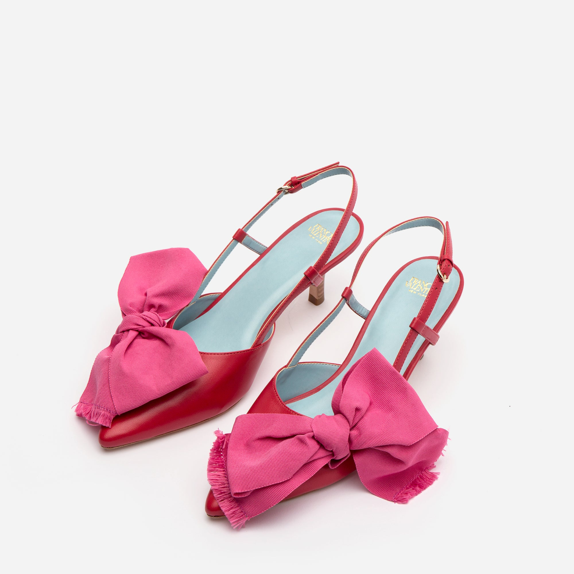 Grace Bow Kitten Heel Red Pink