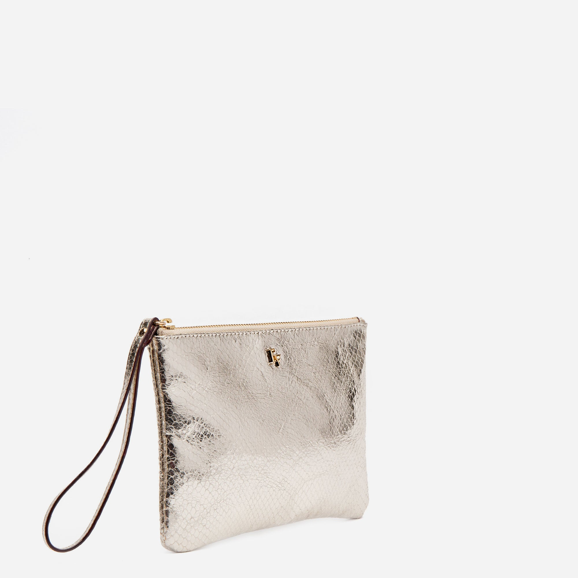 Wristlet Snake Leather Platino