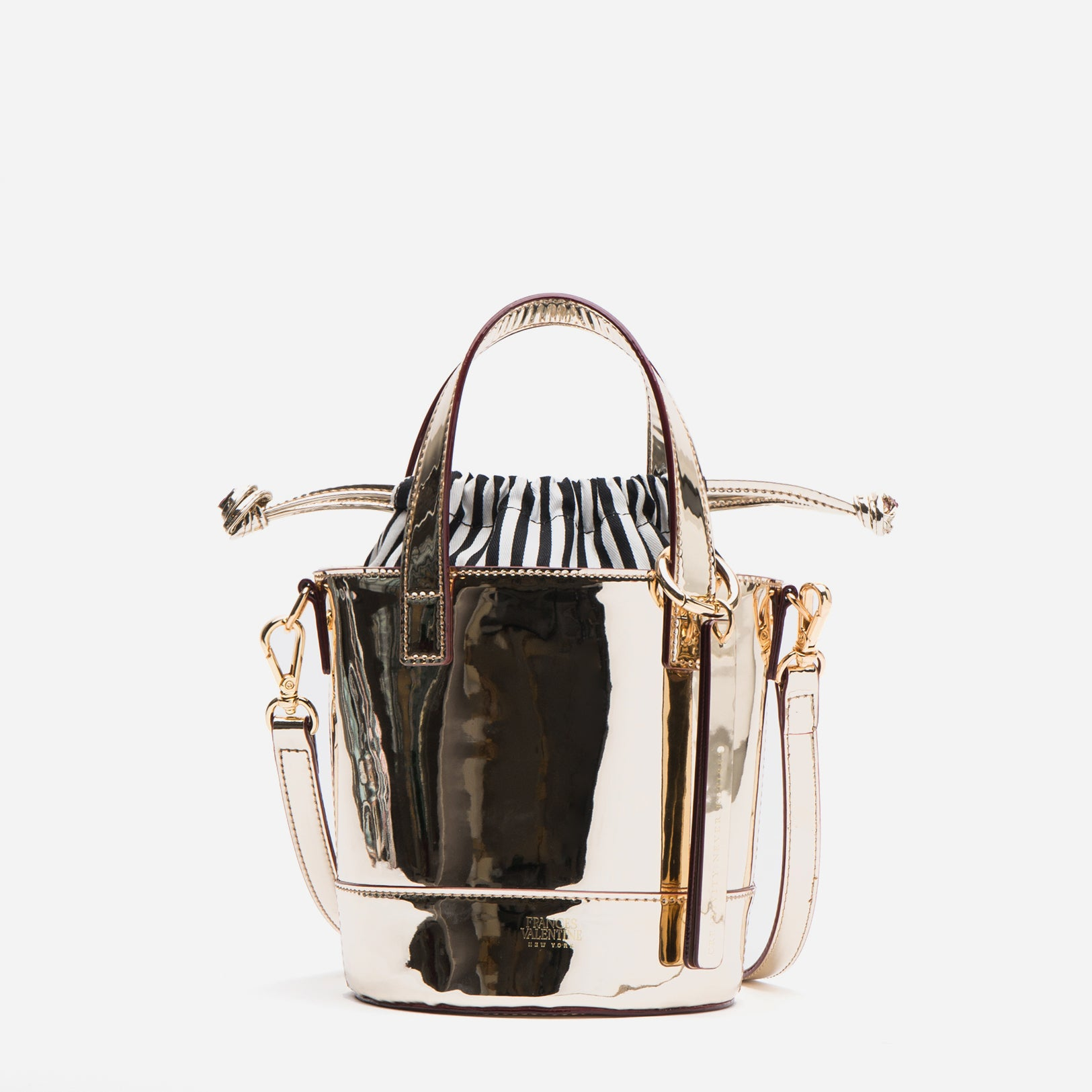 Small Bucket Bag Metallic Vegan Platino - Frances Valentine