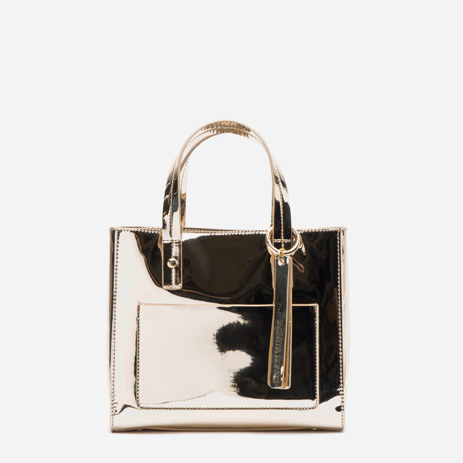 Small Chloe Metallic Vegan Platino - Frances Valentine