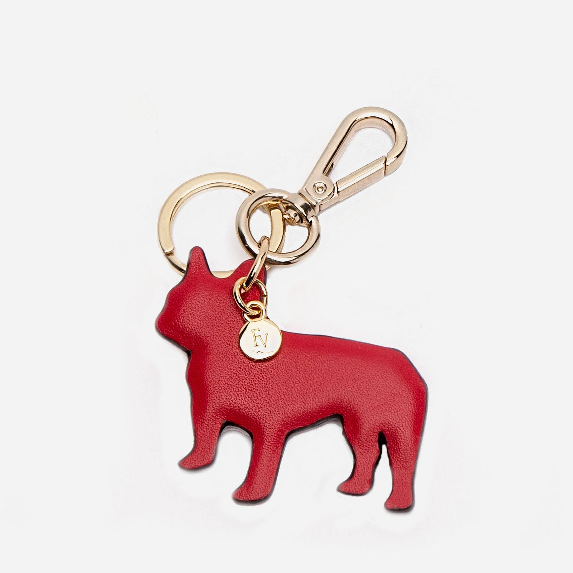 French Bulldog Keychain Red
