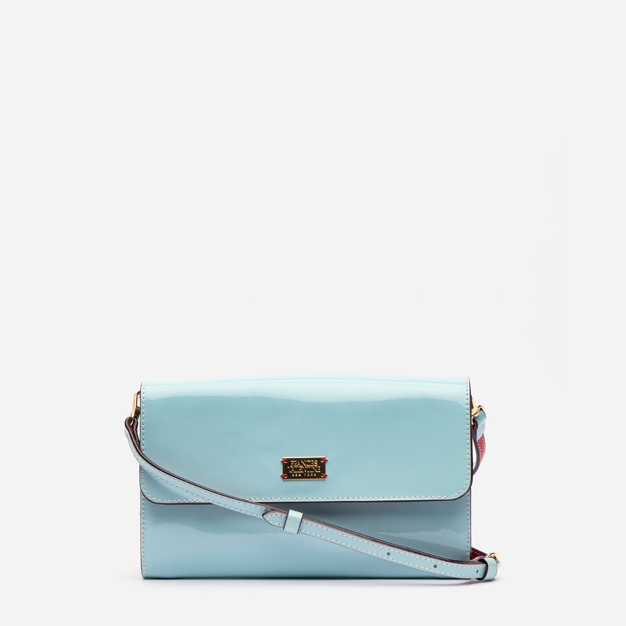 Kelly Crossbody Clutch Soft Patent Light Blue Red