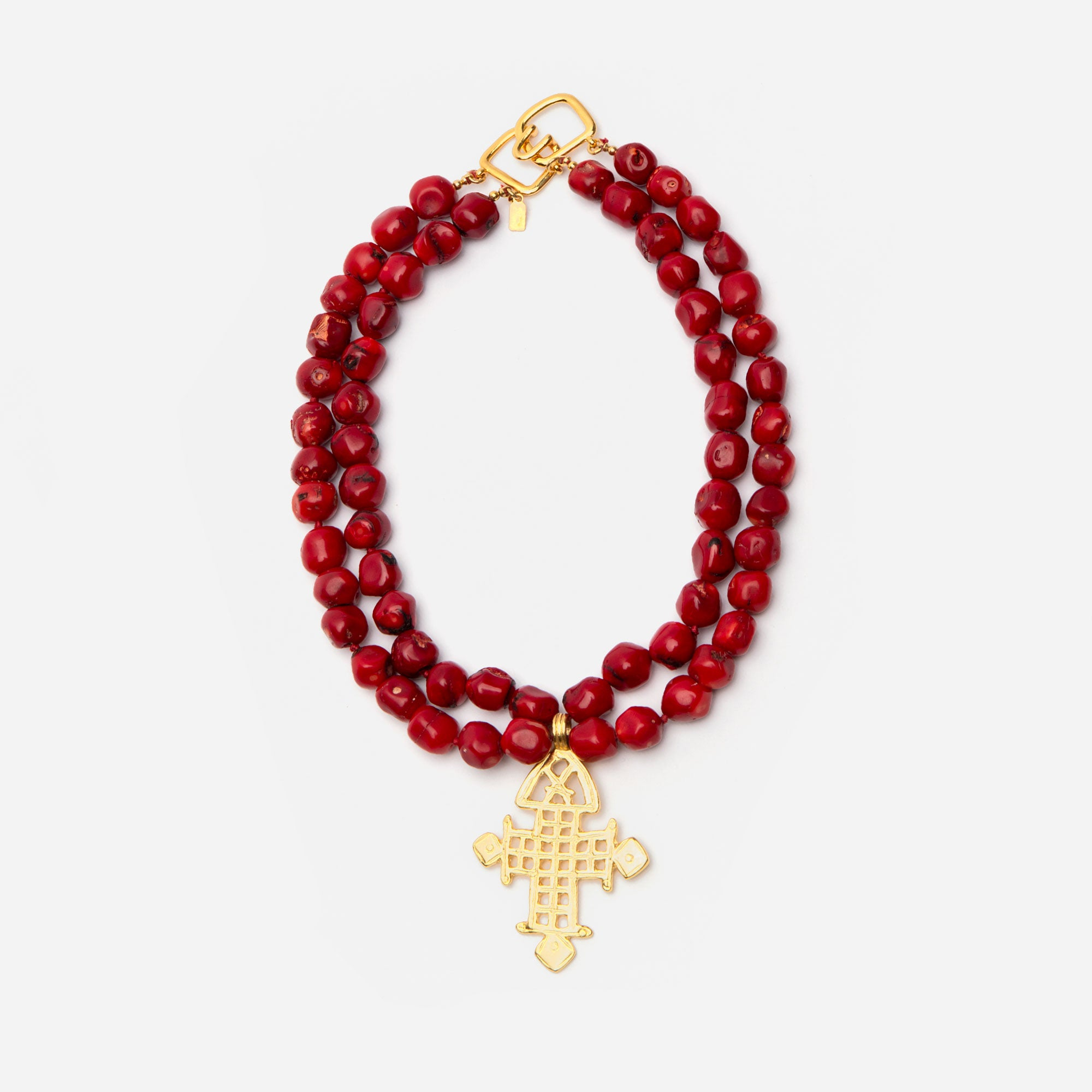 Red Bead Cross Necklace
