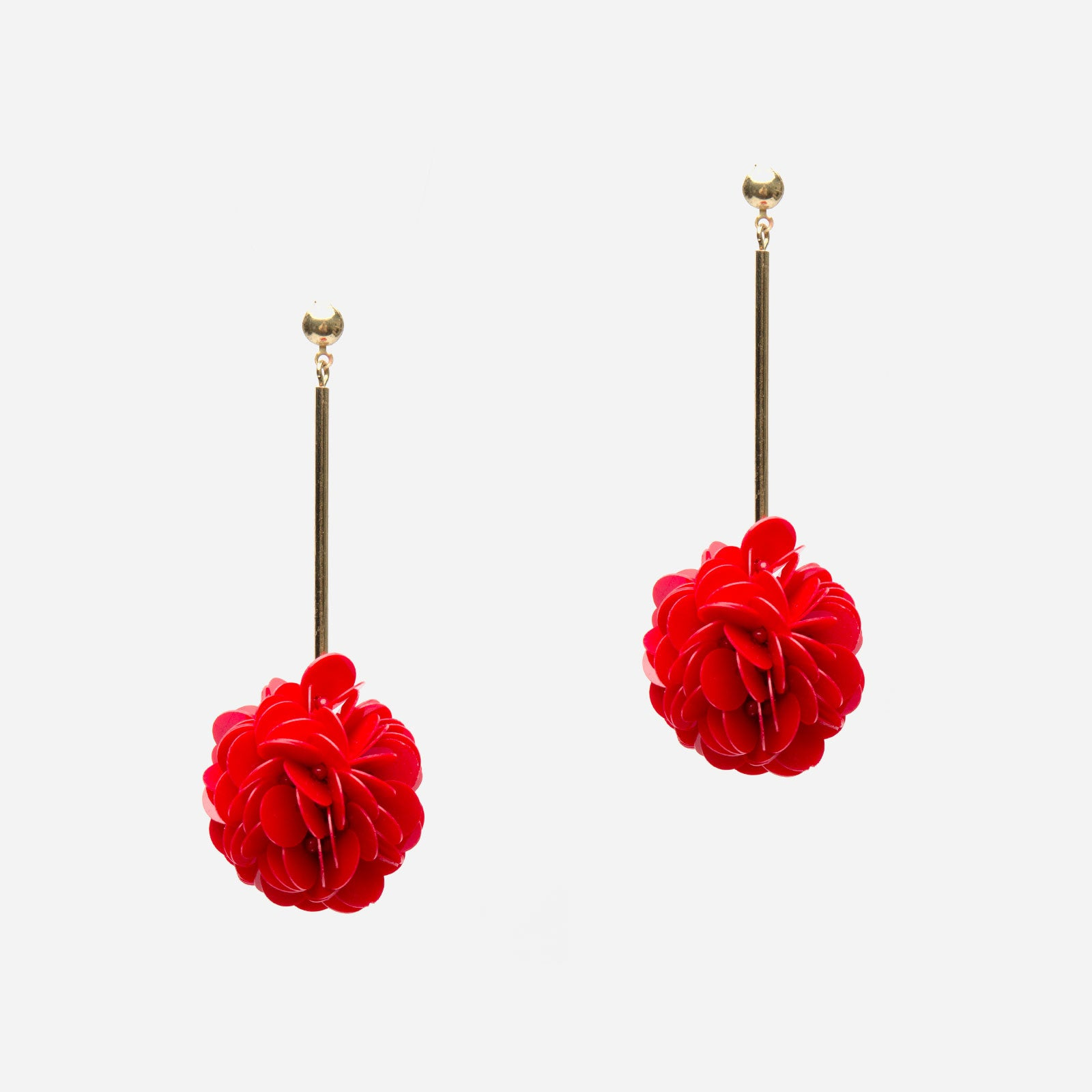 Red Allium Drop Earrings
