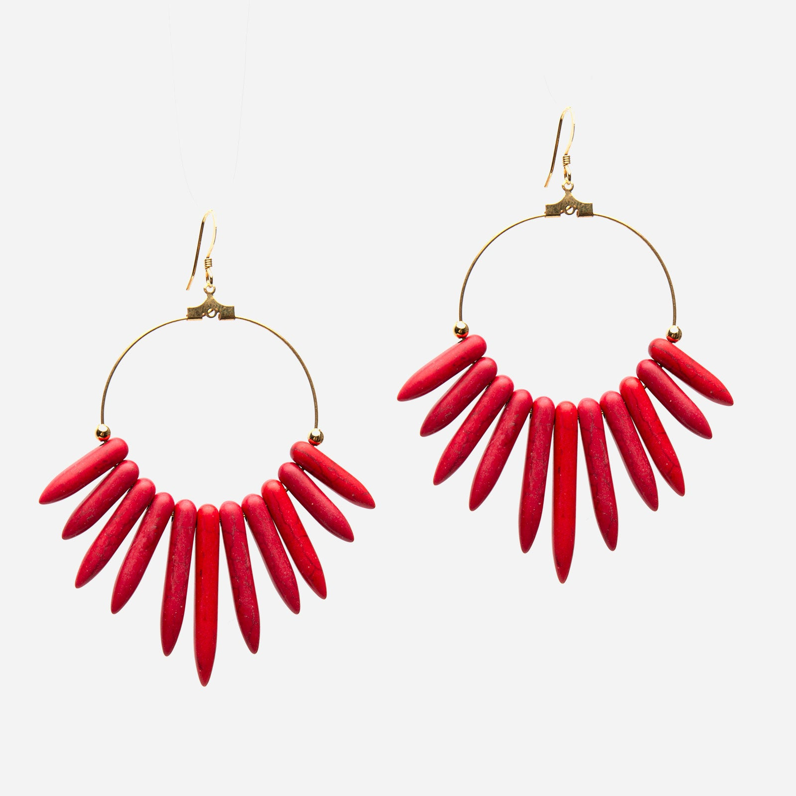 Chile Hoop Earrings Red