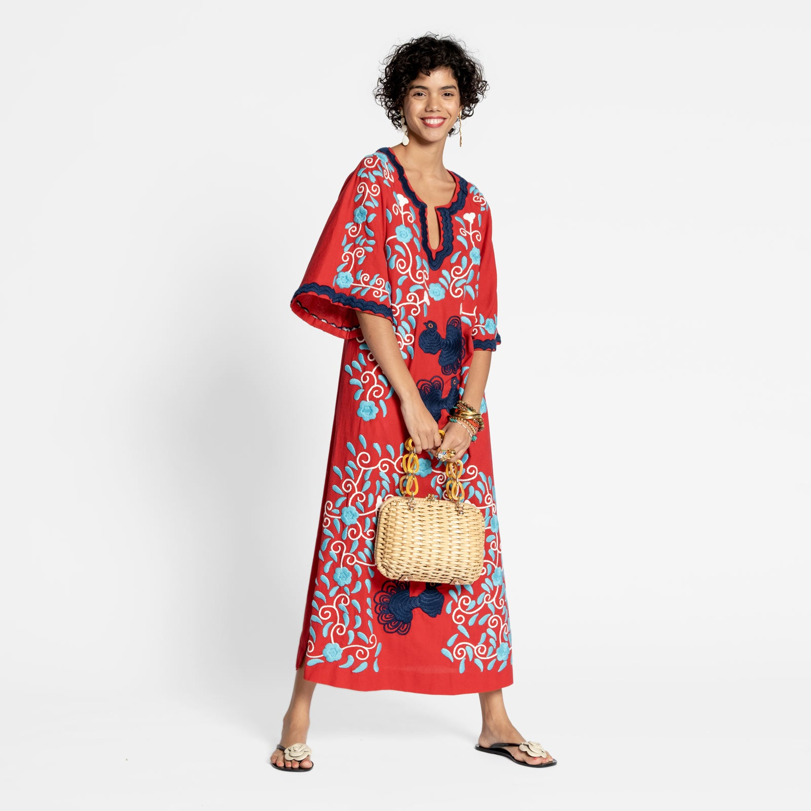 Peacock Caftan Dress Red Navy Light Blue