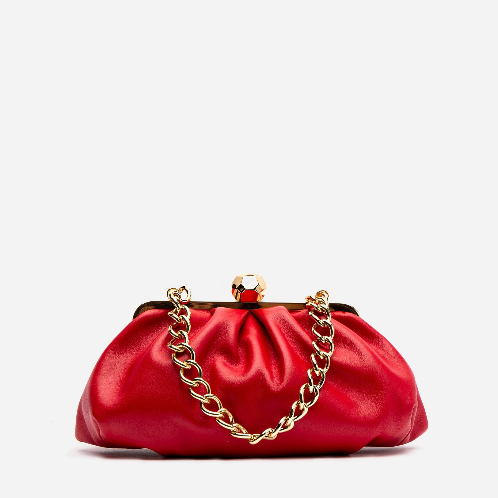 Zelda Frame Bag Nappa Leather Red - Frances Valentine