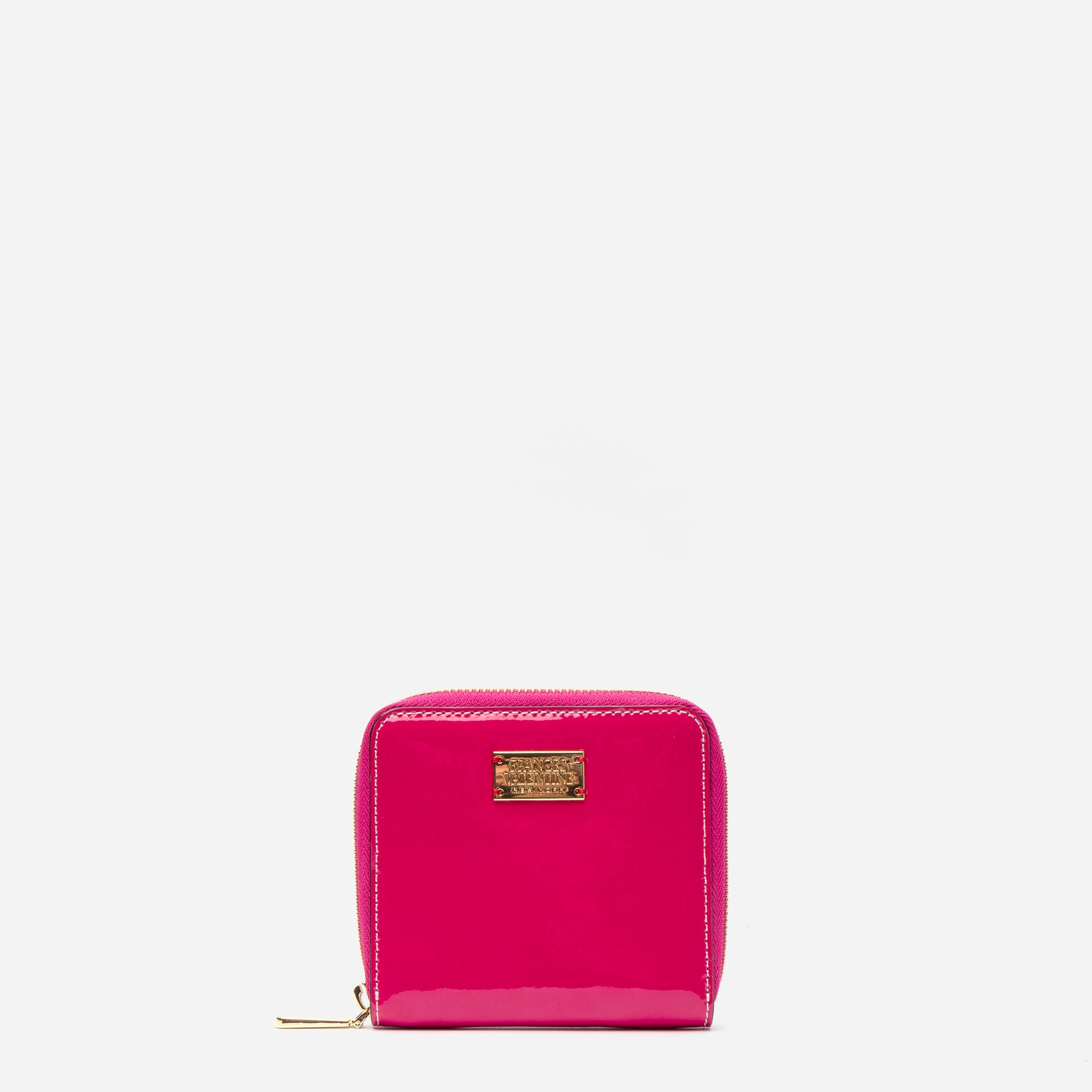 Roosevelt Small Zip Wallet Soft Patent Pink Oyster - Frances Valentine
