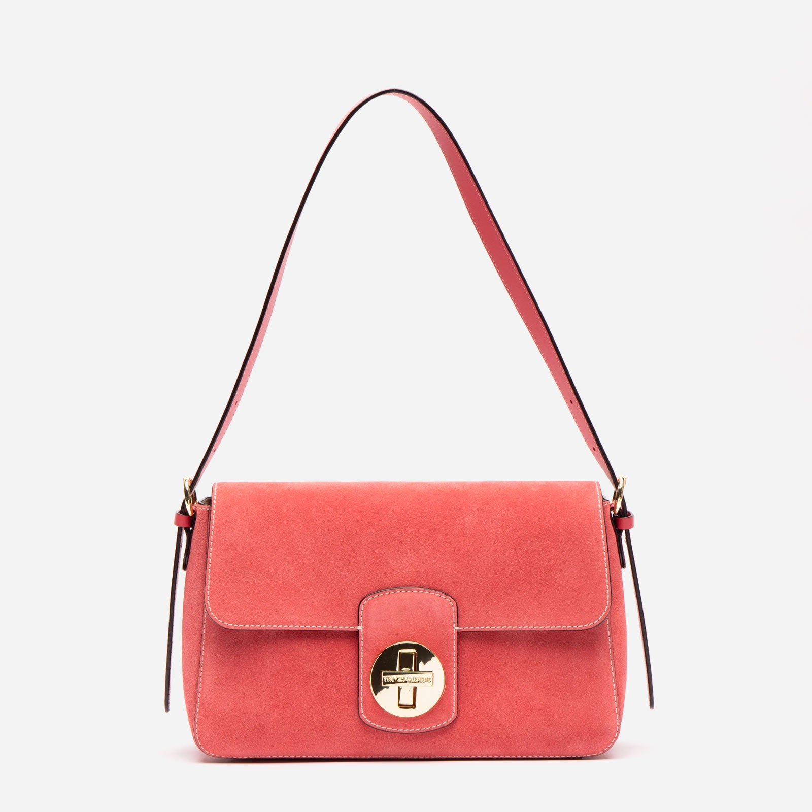 Ruby Shoulder Bag Suede Cerise - Frances Valentine
