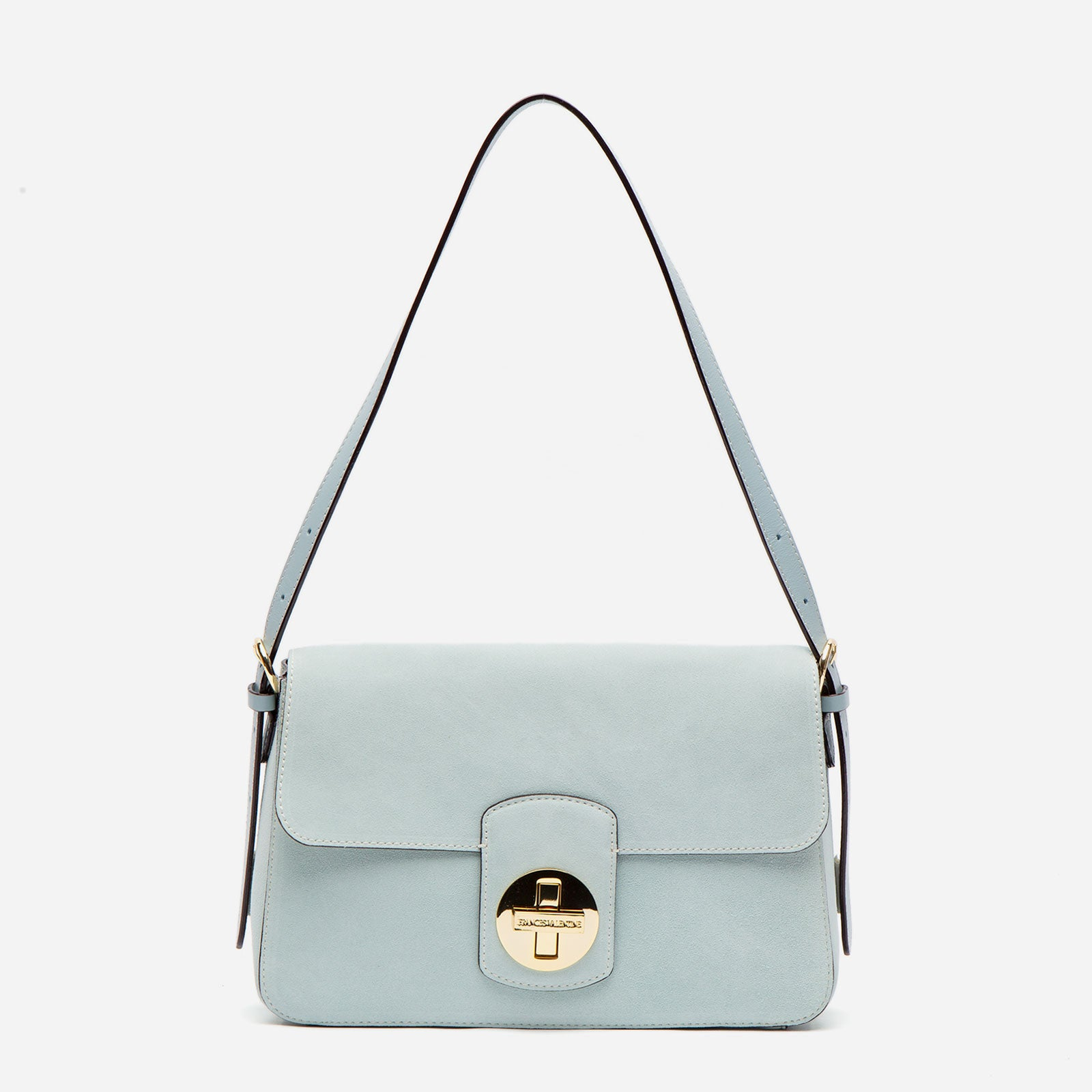 Ruby Shoulder Bag Suede Sky Blue - Frances Valentine
