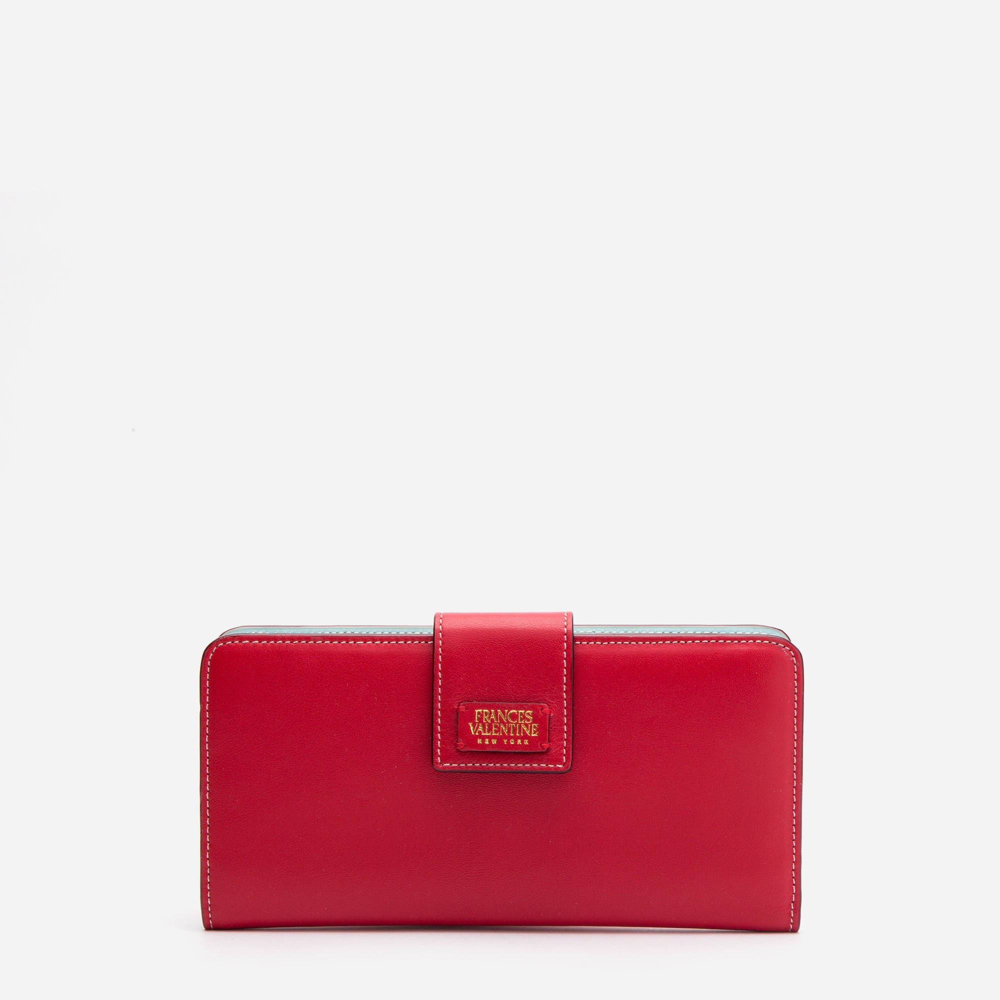 Jefferson Slim Wallet Red Light Blue - Frances Valentine