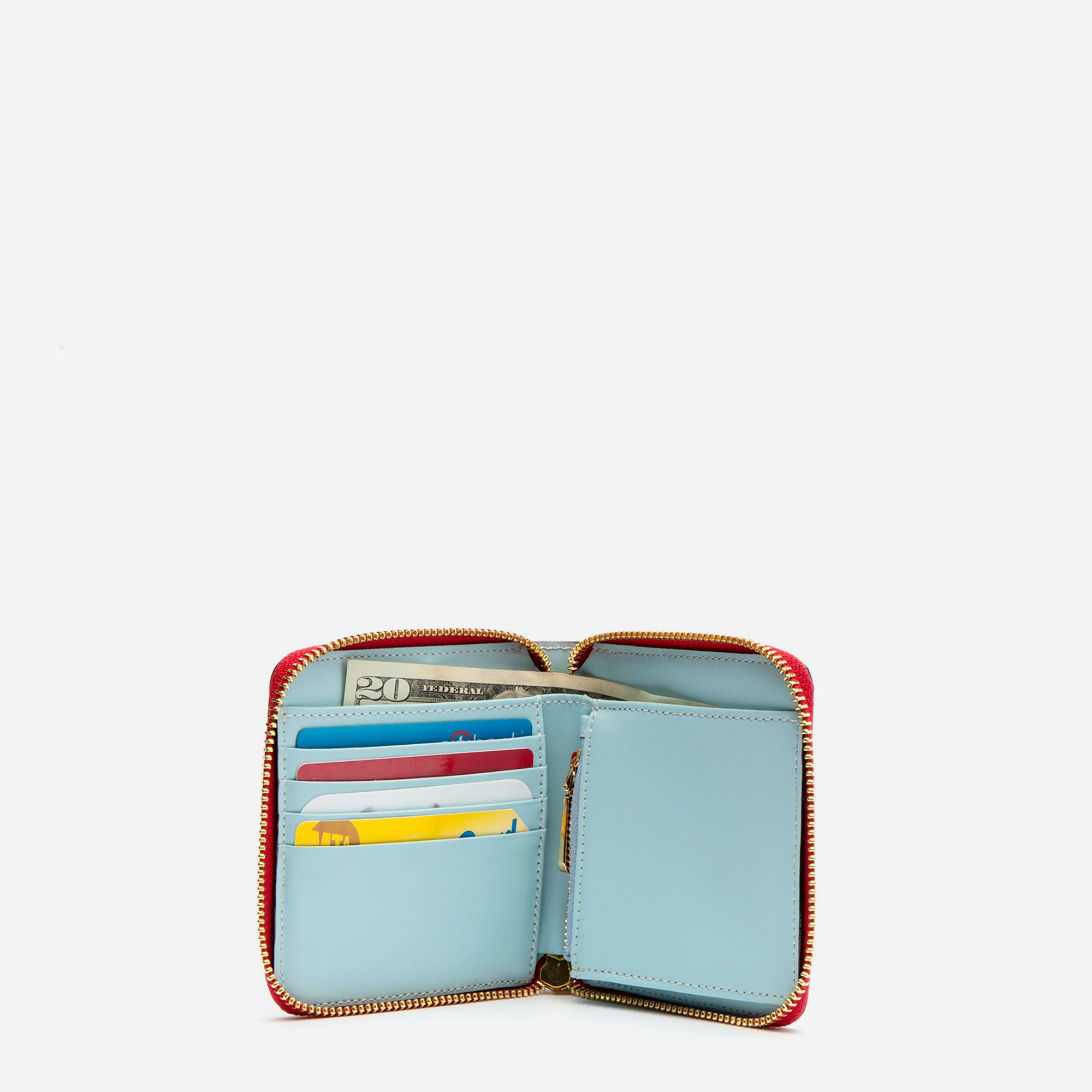Roosevelt Small Zip Wallet Red Light Blue