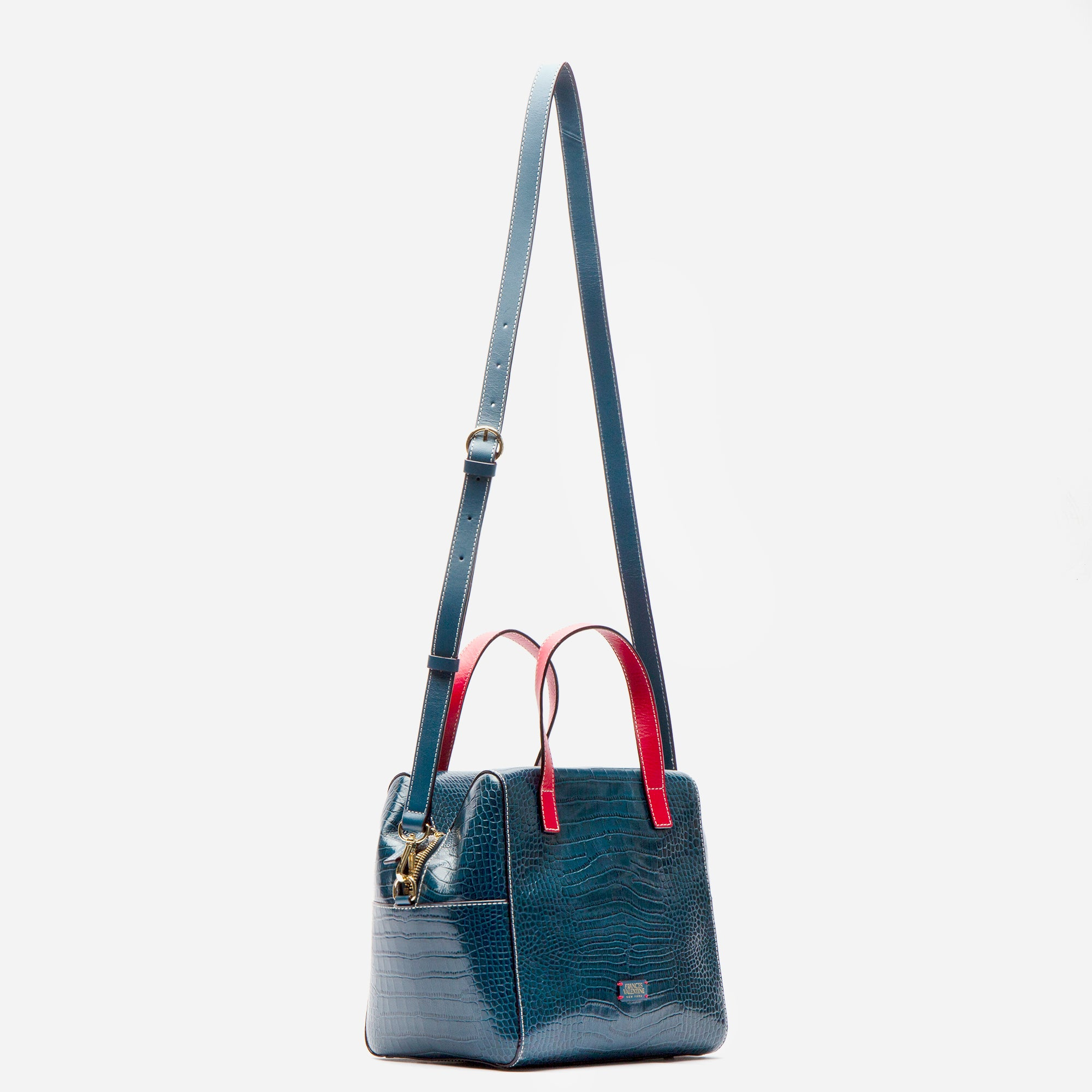 Sabrina Satchel Croc Embossed Blue