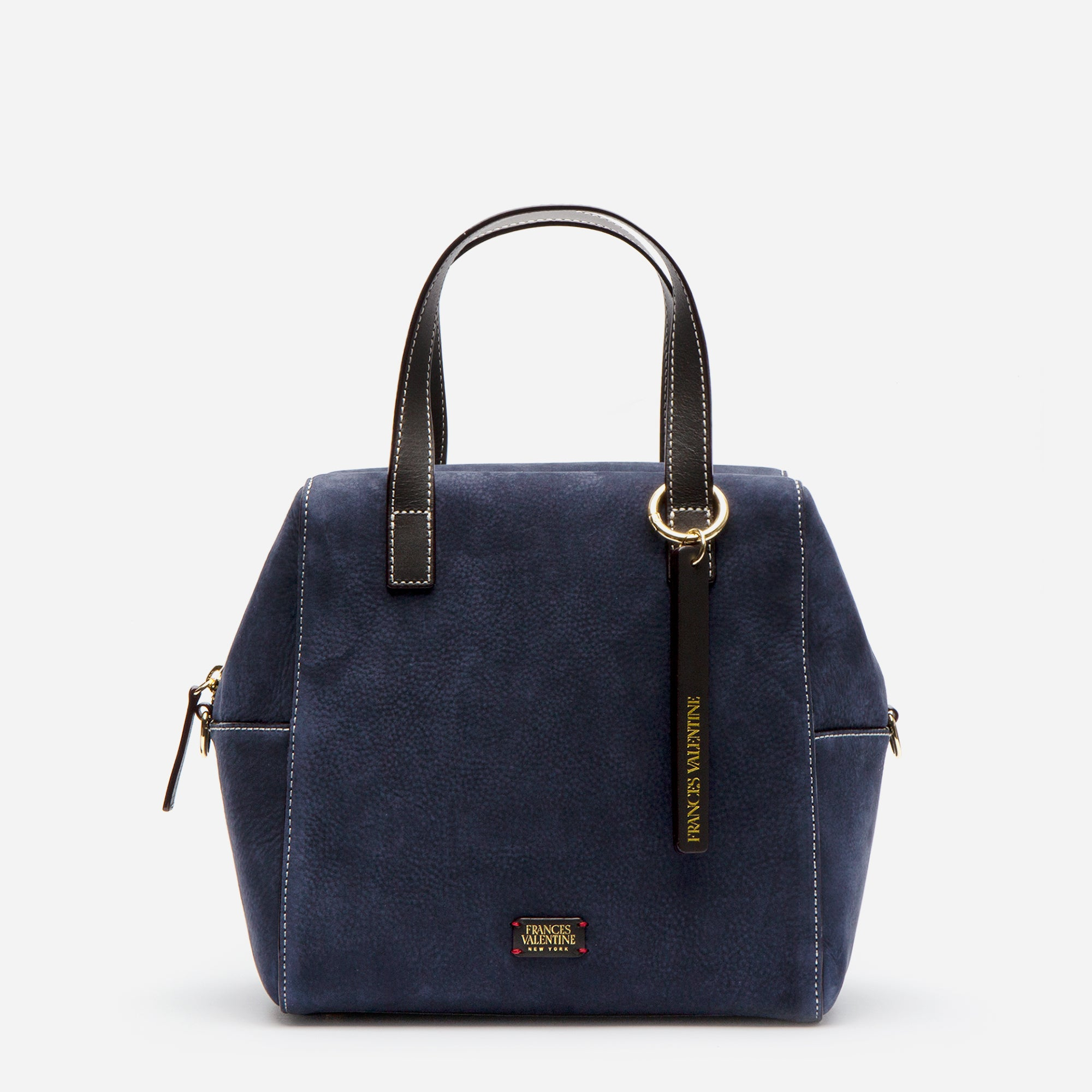 Sabrina Satchel Tumbled Nubuck Navy Chocolate