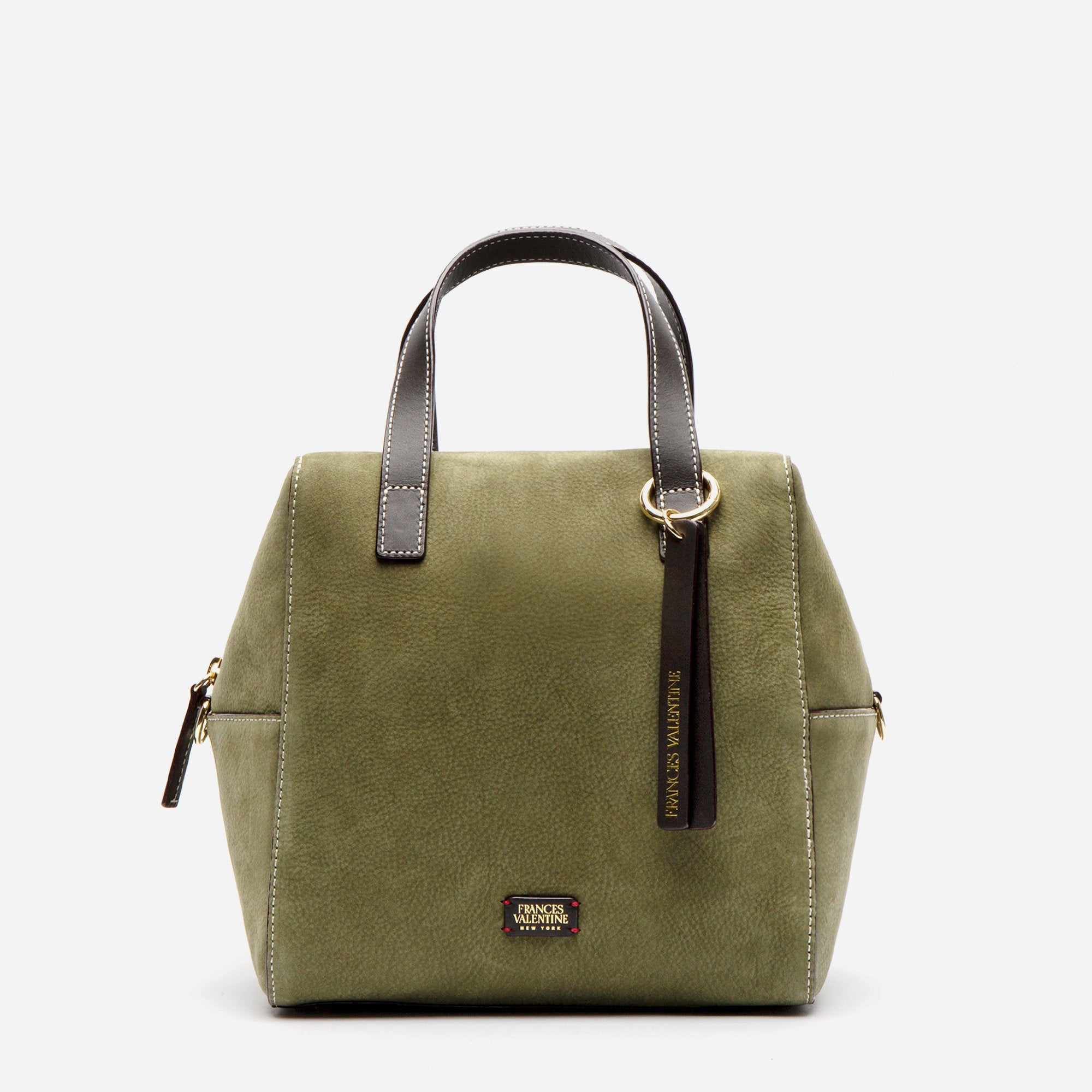 Sabrina Satchel Tumbled Nubuck Olive Chocolate