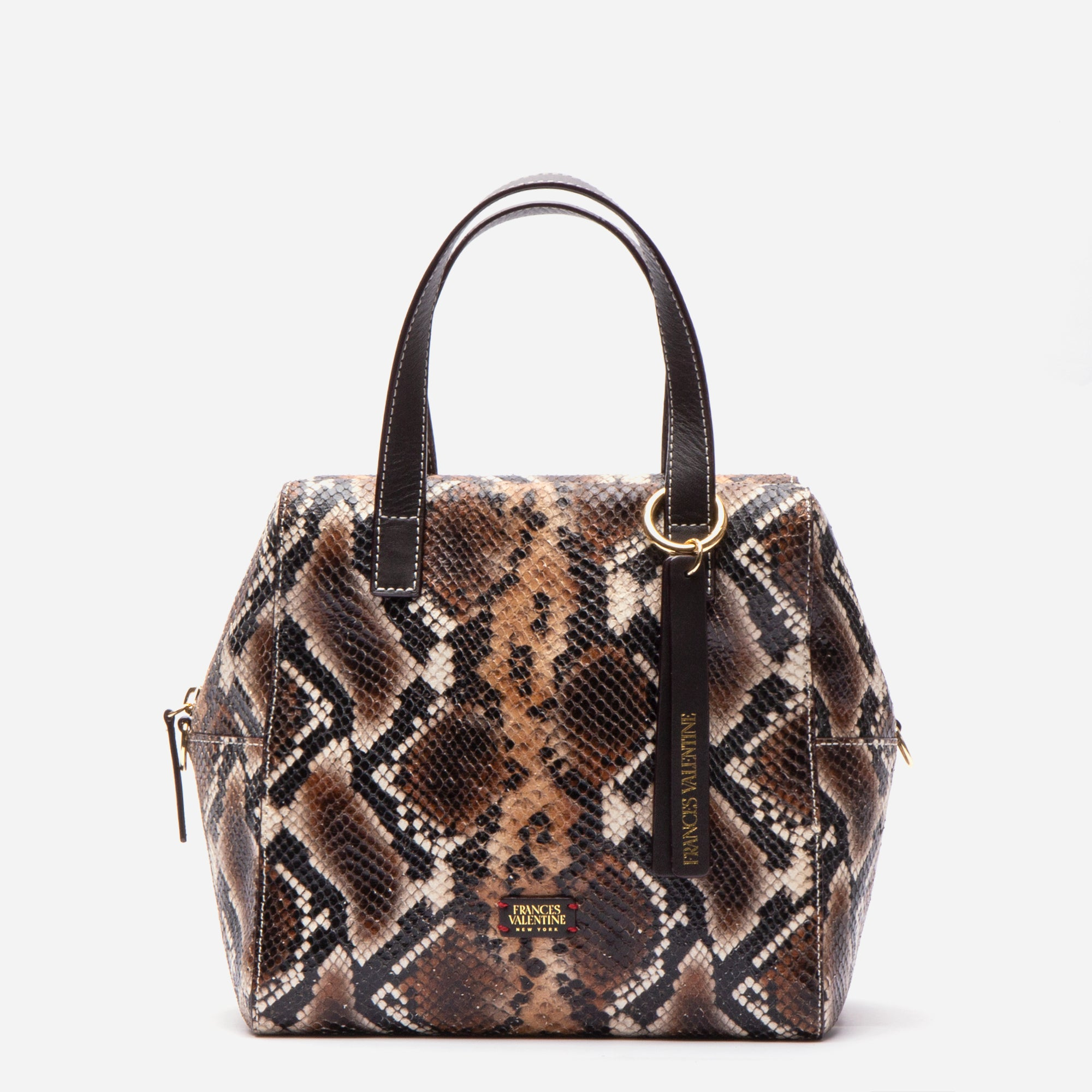 Sabrina Satchel Snake Embossed Brown