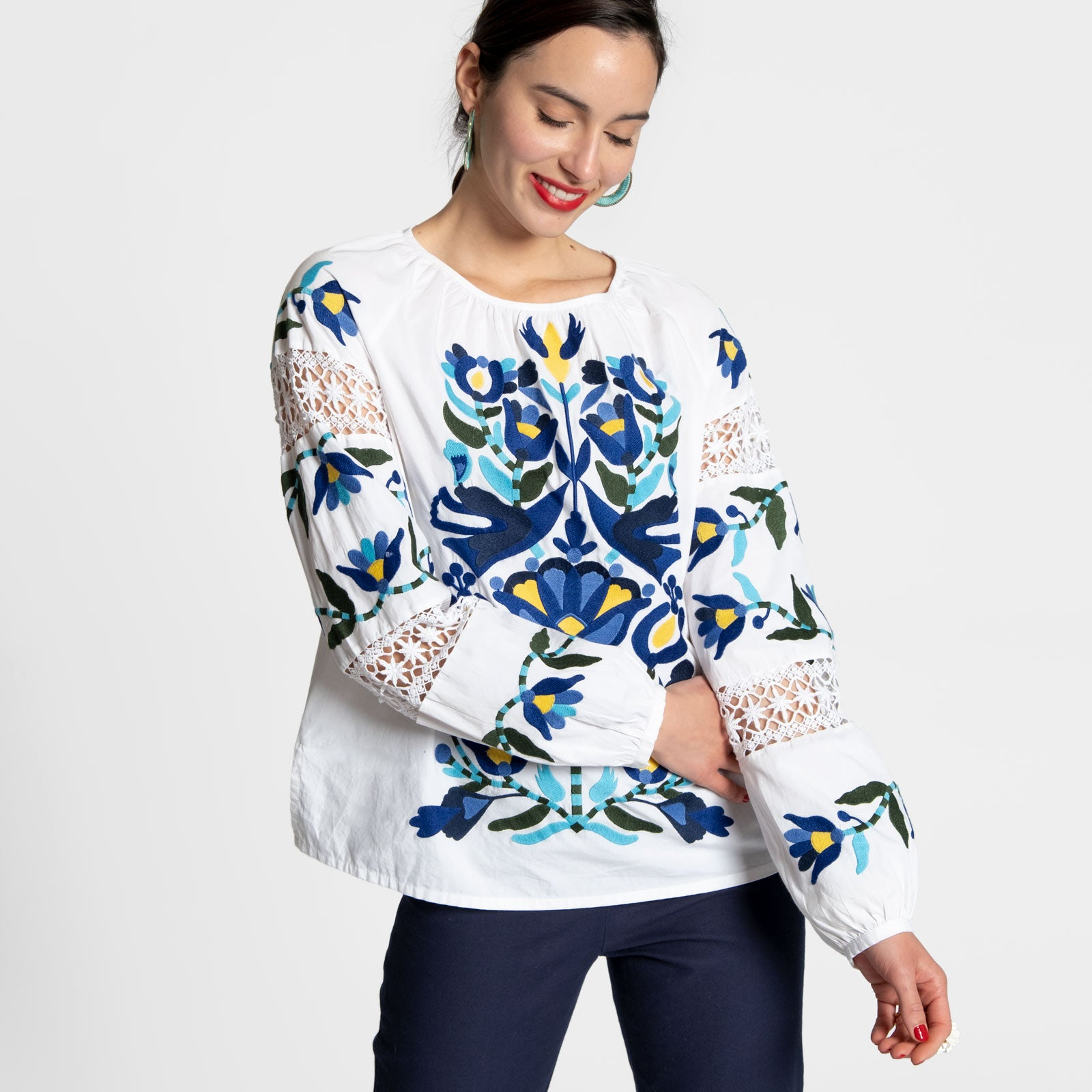 Saskia Embroidered Blouse White