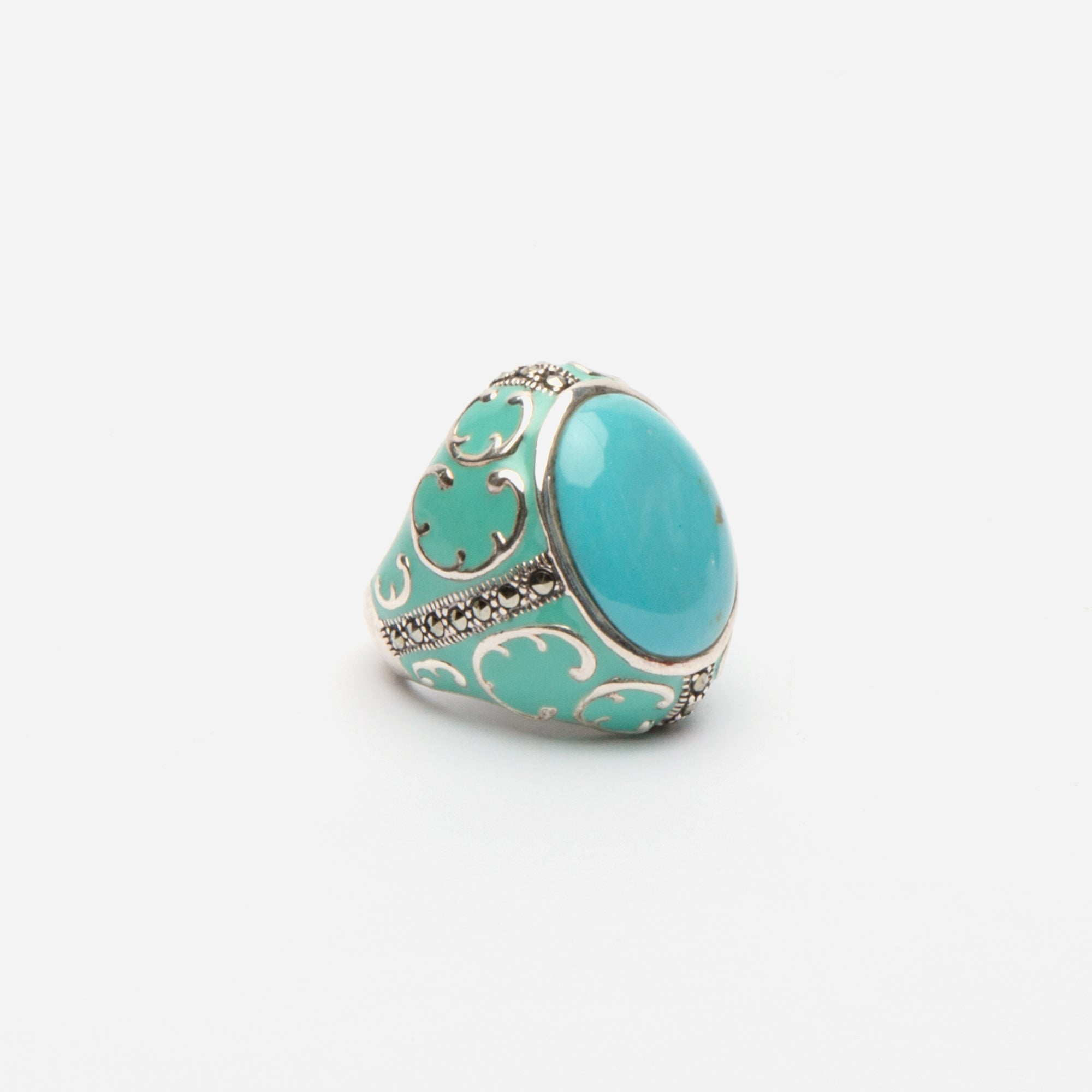 Scroll Turquoise Statement Ring