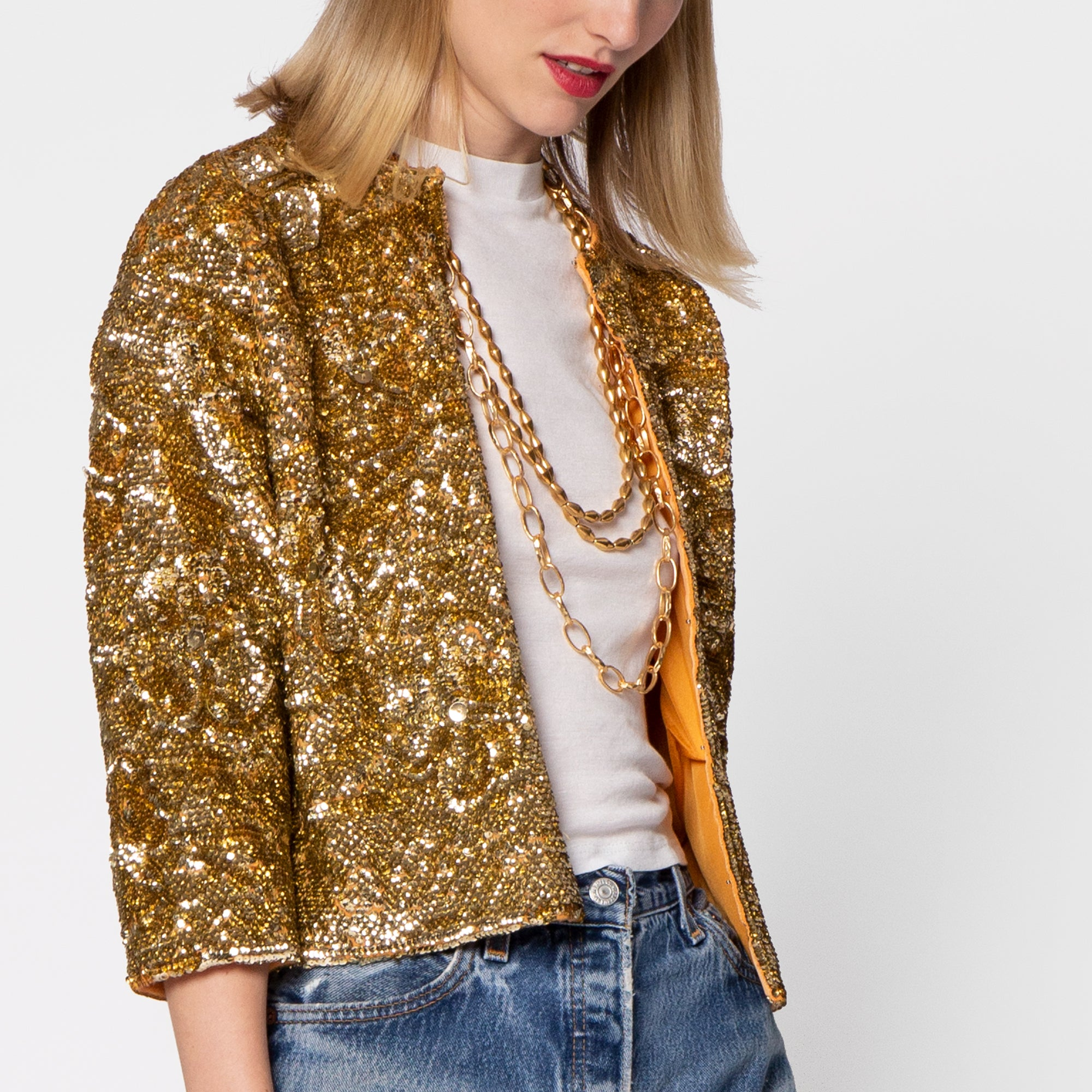 Sequin Flower Jacket Gold