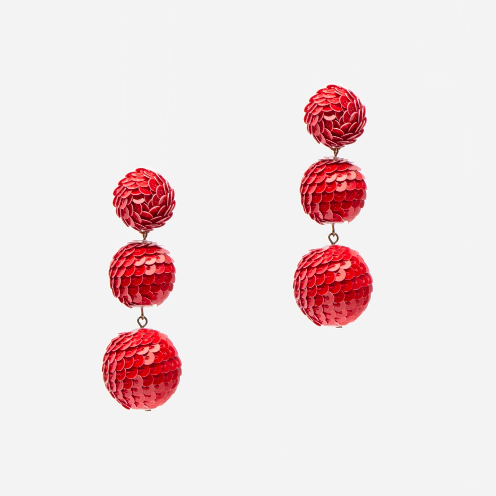 Bobbi  Sequin Drop Earring Red