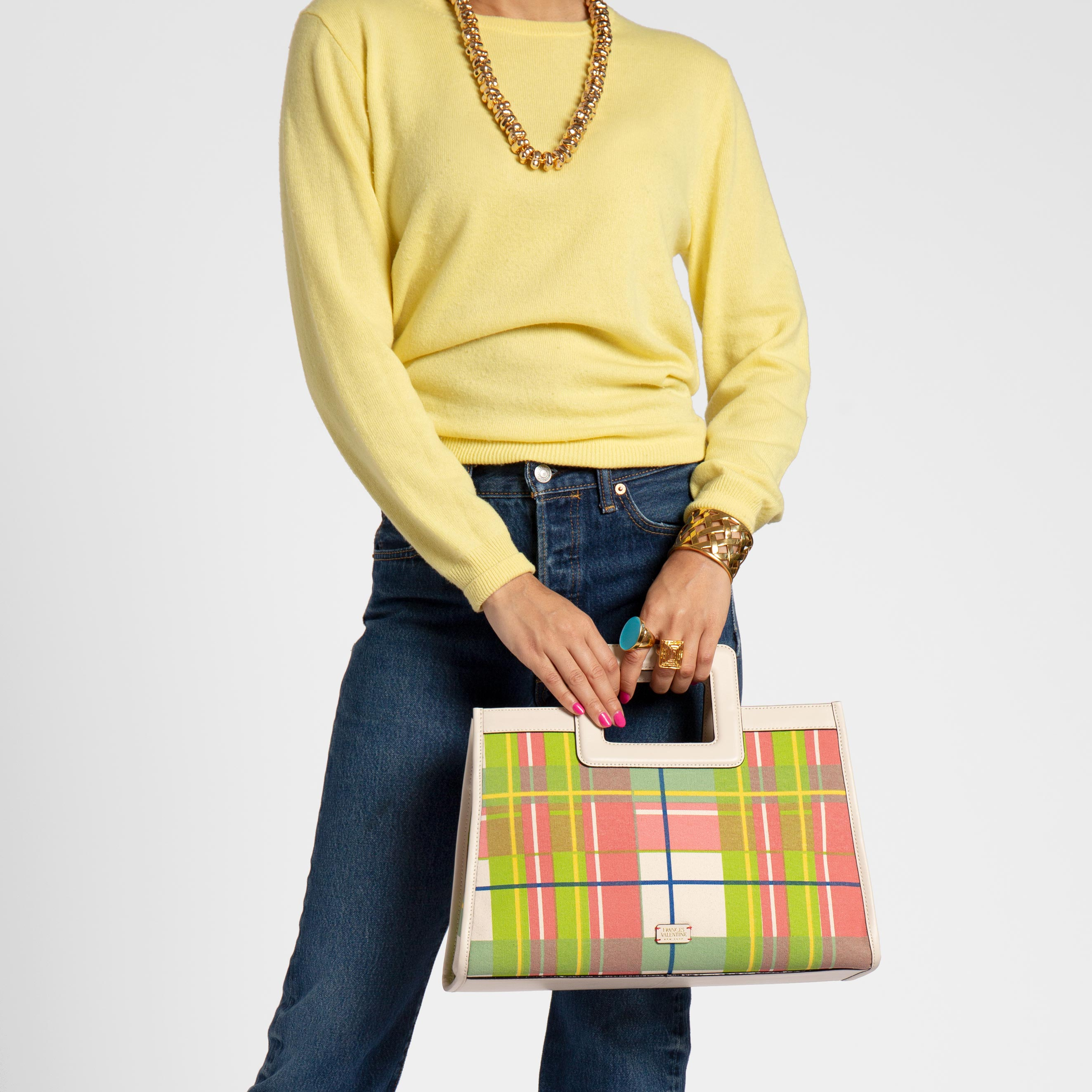 Large Shopper Tote Bermuda Plaid