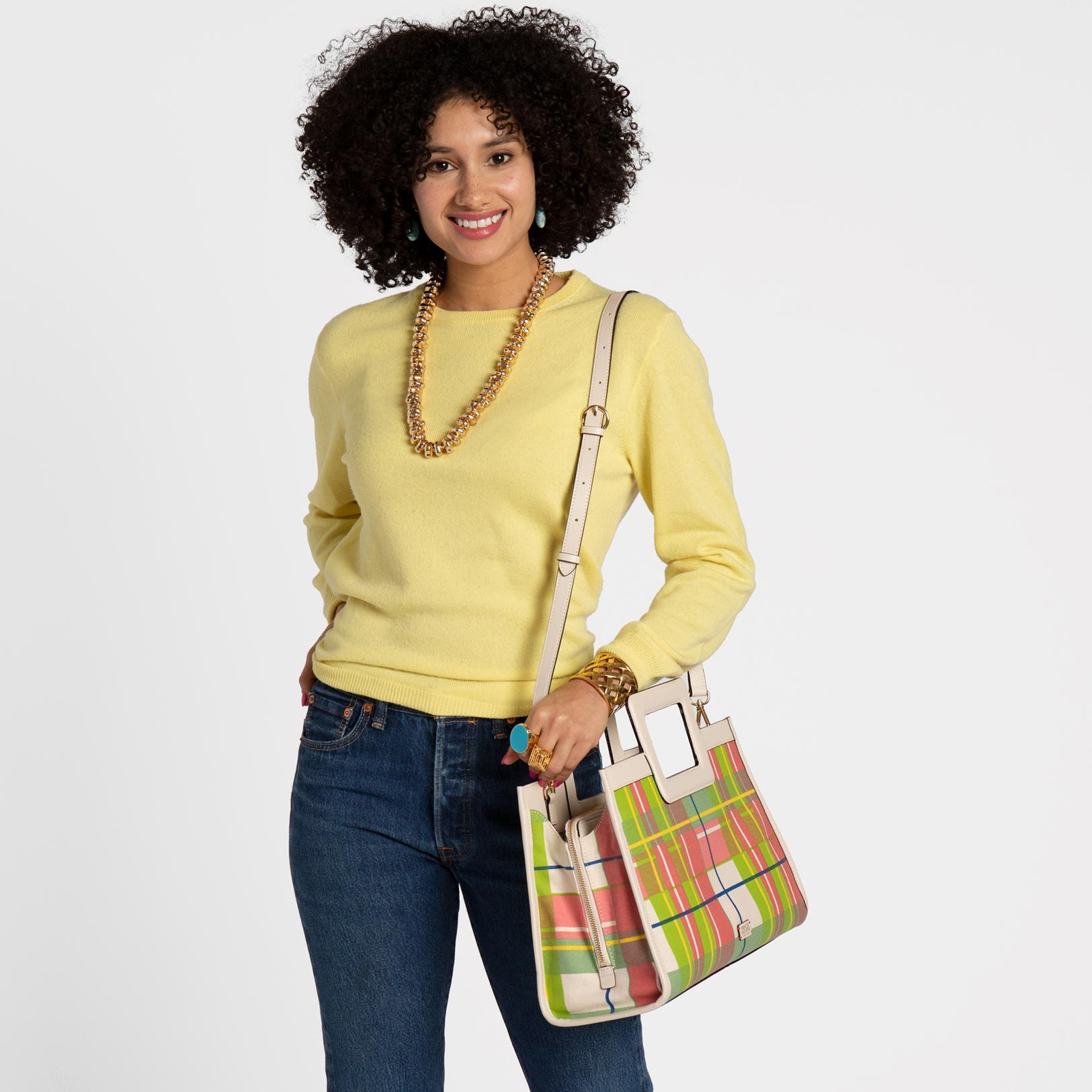 Large Shopper Tote Canvas Bermuda Plaid