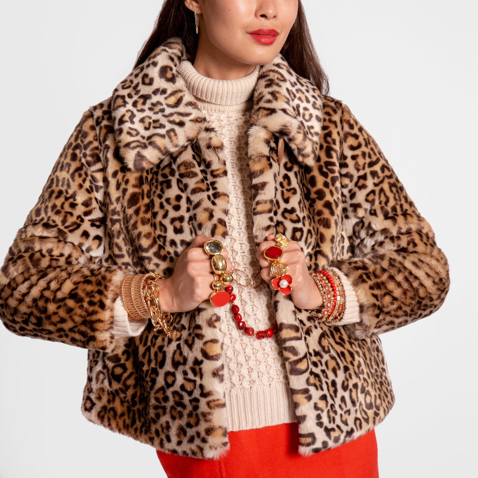 Short Faux Fur Jacket Leopard - Frances Valentine