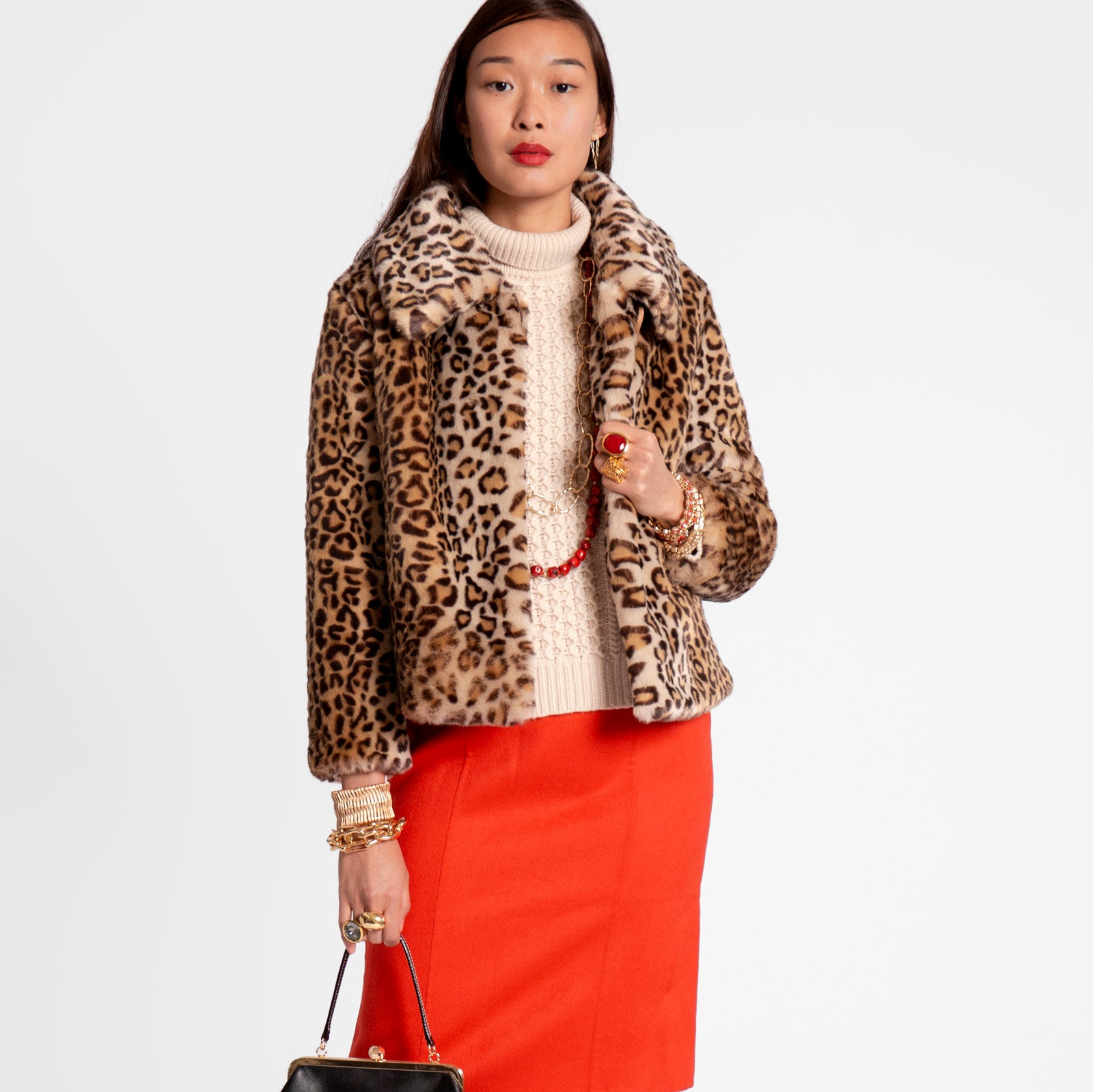 Short Faux Fur Jacket Leopard