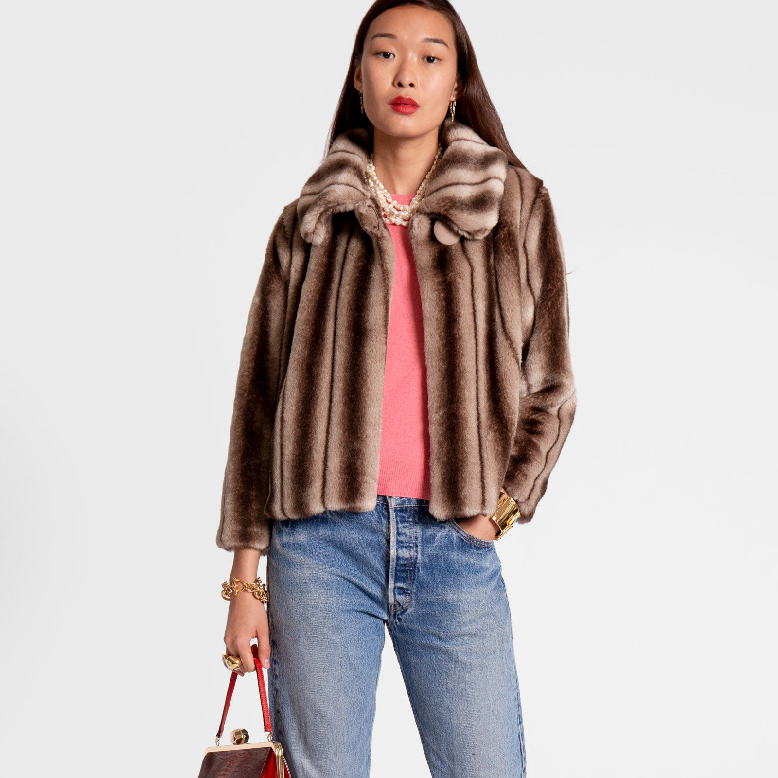 Short Faux Fur Jacket Mink