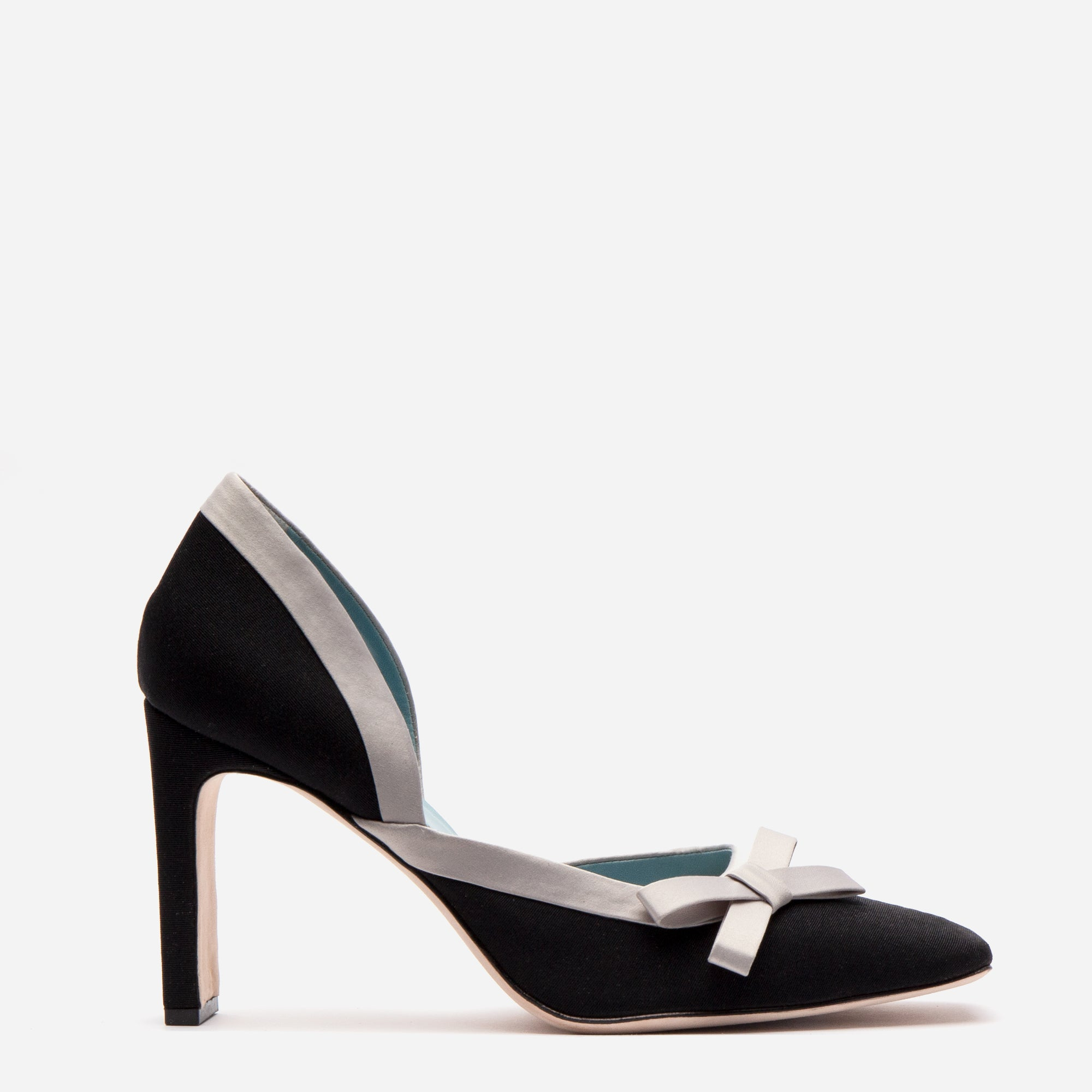 Sinclair Grosgrain Satin Heels Black Oyster *FINAL SALE*