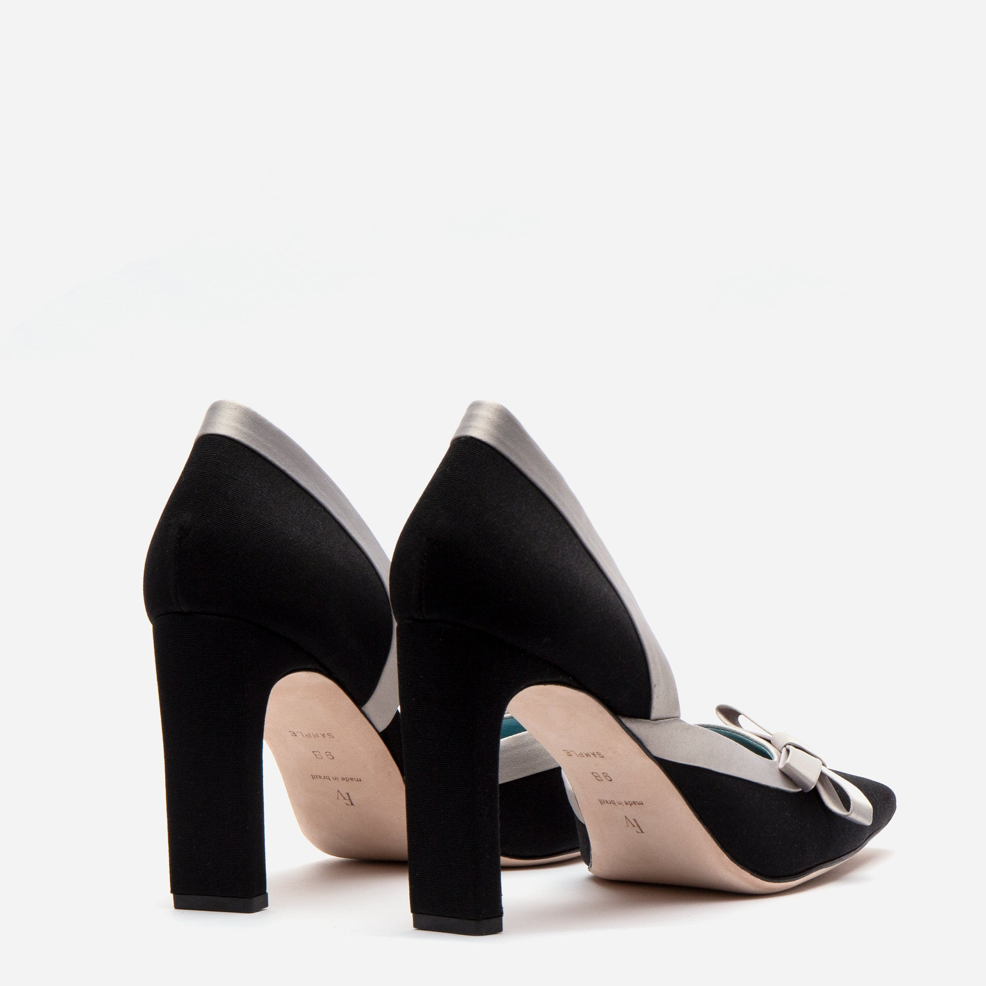 Sinclair Grosgrain Satin Heels Black Oyster