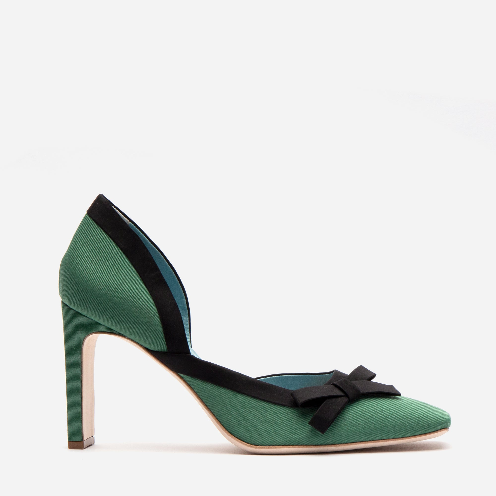 Sinclair Grosgrain Satin Heels Emerald Black *FINAL SALE* - Frances Valentine