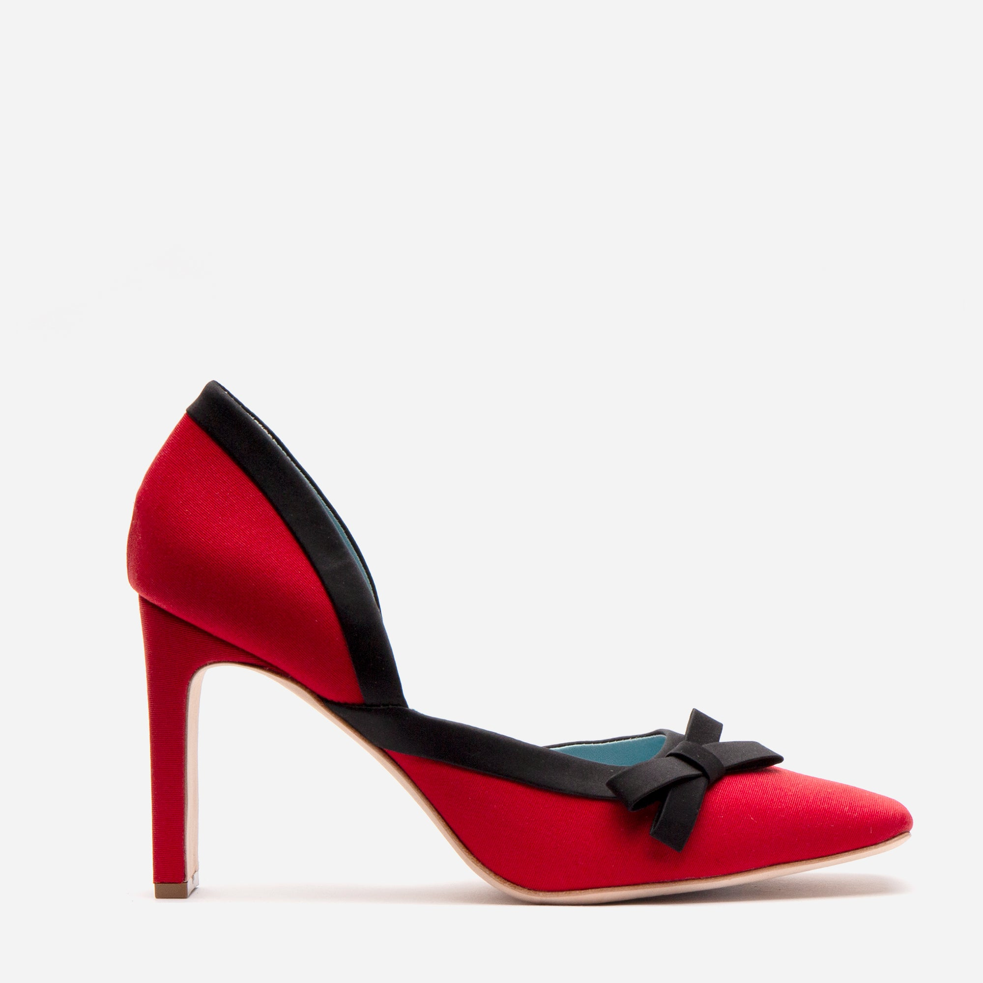 Sinclair Grosgrain Satin Heels Red Black *FINAL SALE*