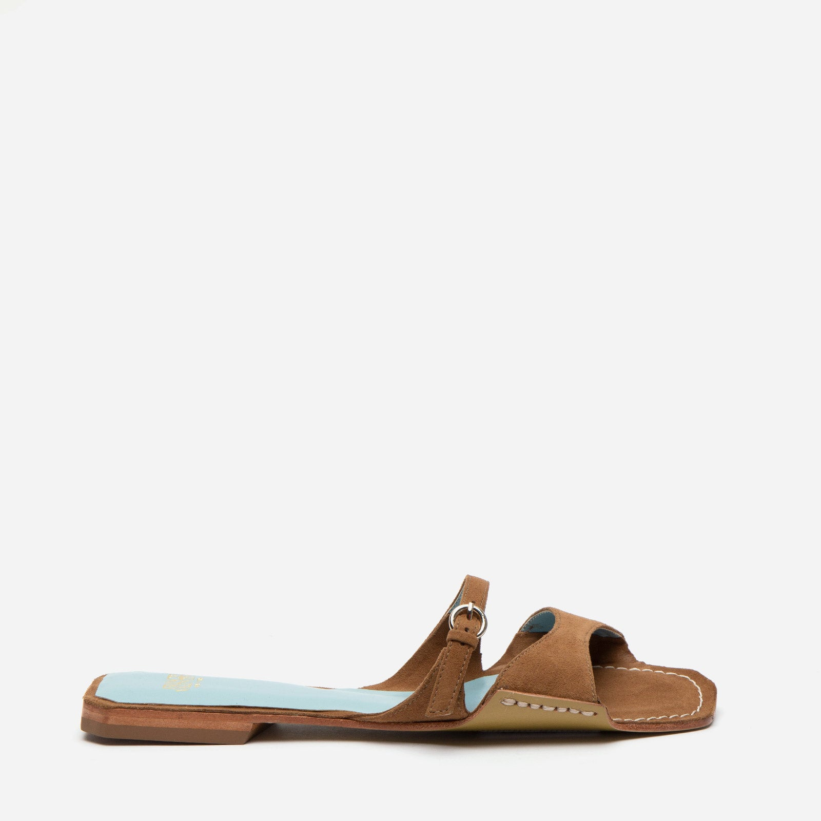 Square Toe Suede Slide Taupe