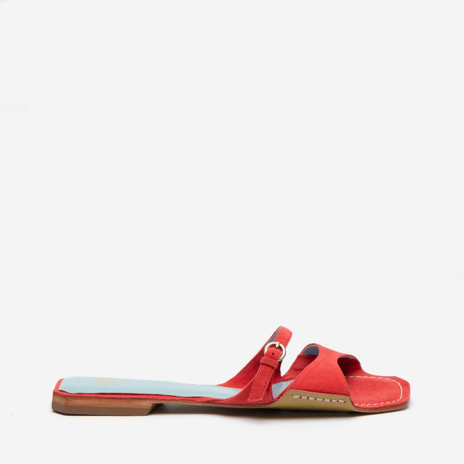 Square Toe Suede Slide Cerise