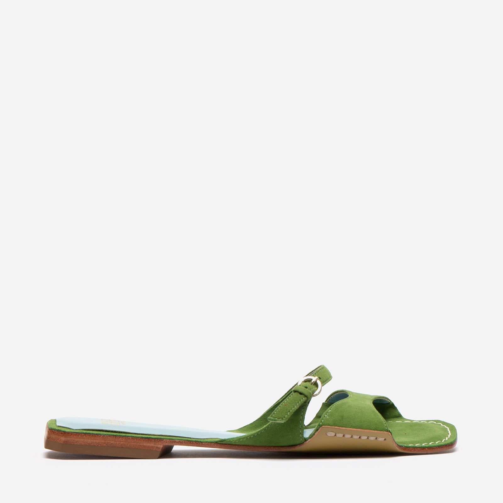 Square Toe Suede Slide Fern - Frances Valentine