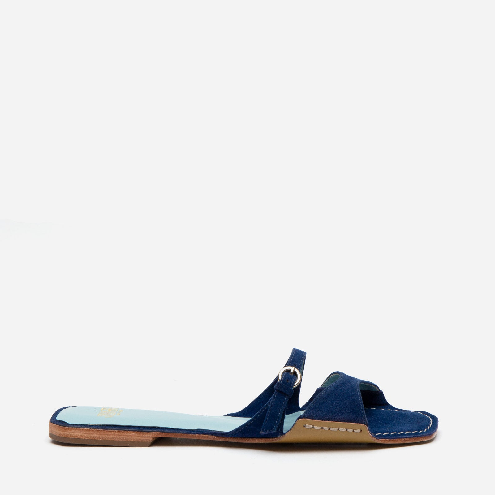 Square Toe Suede Slide Navy - Frances Valentine