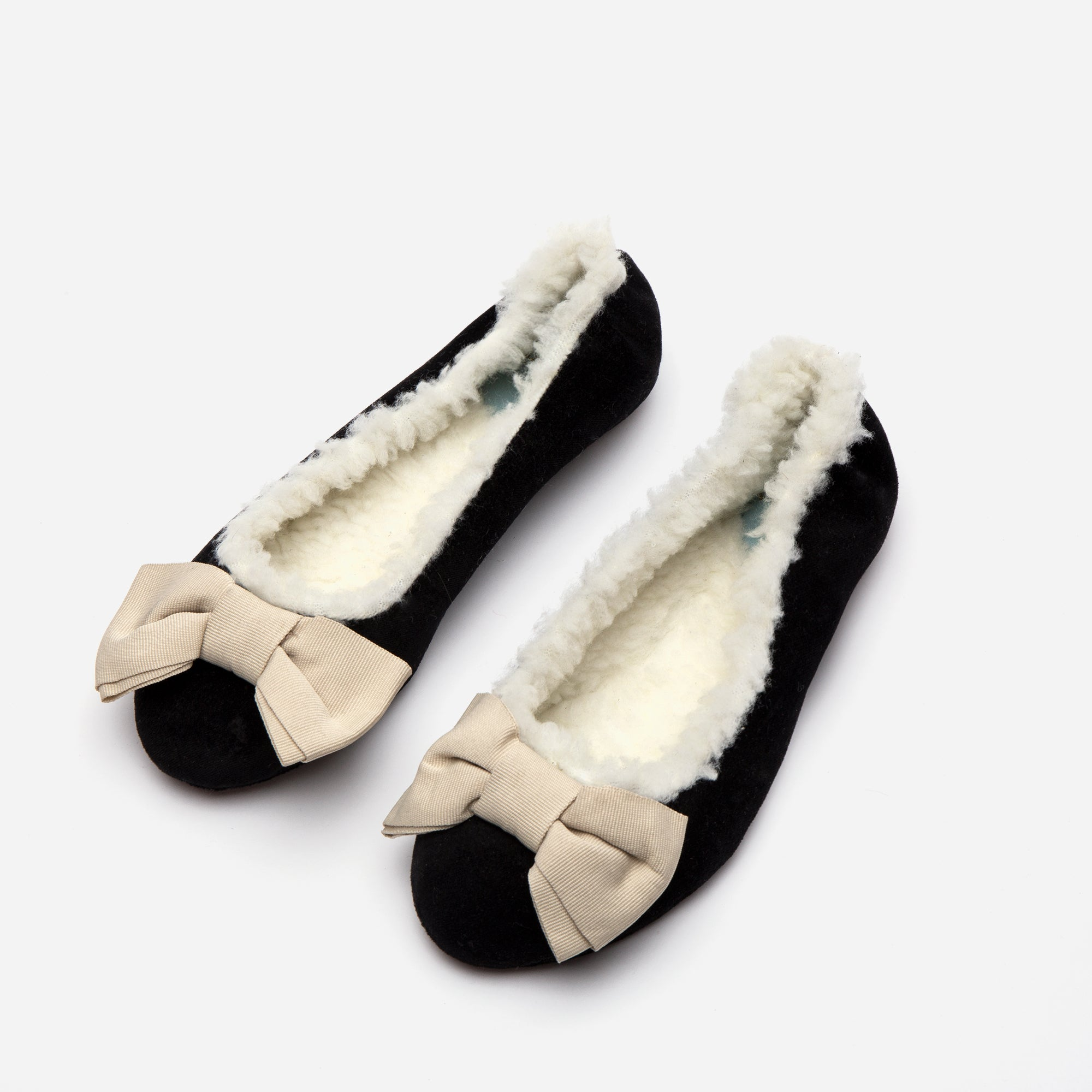 Velvet Shearling Slippers Black Oyster
