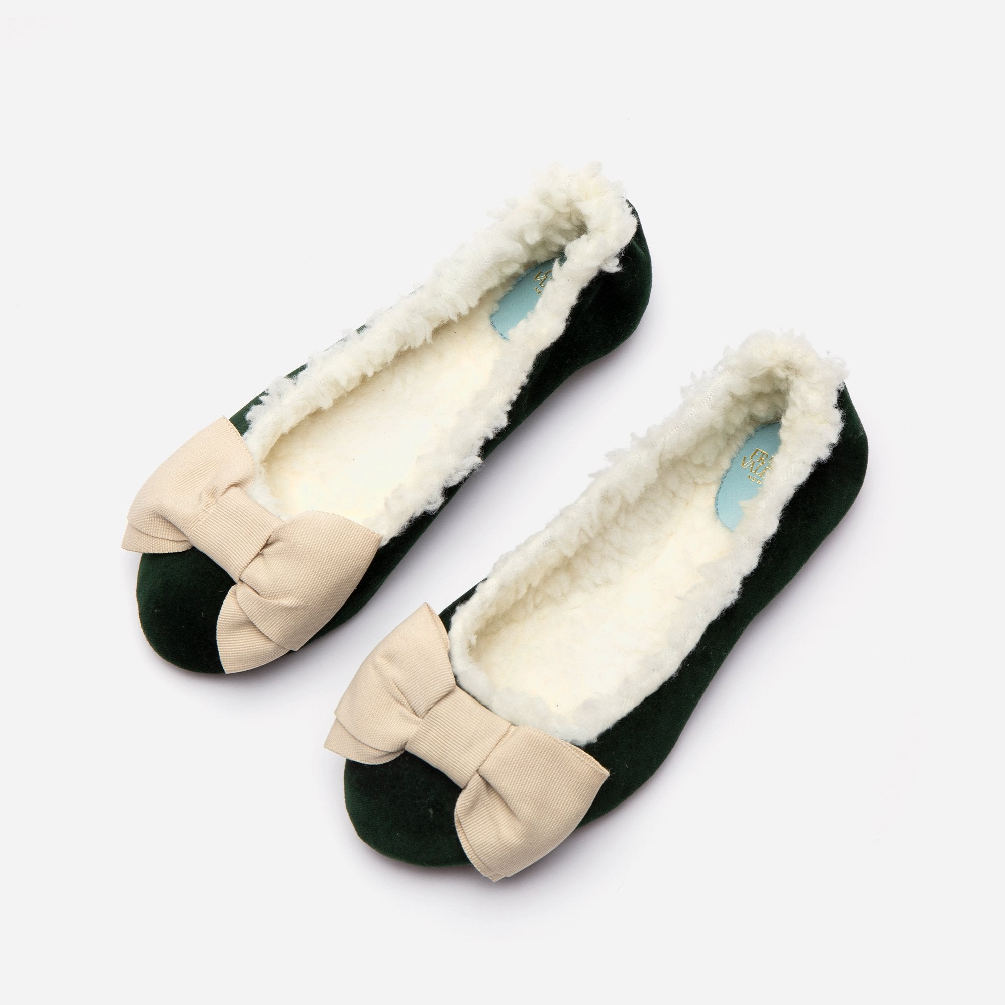 Velvet Bow Slipper Faux Shearling Forest Green