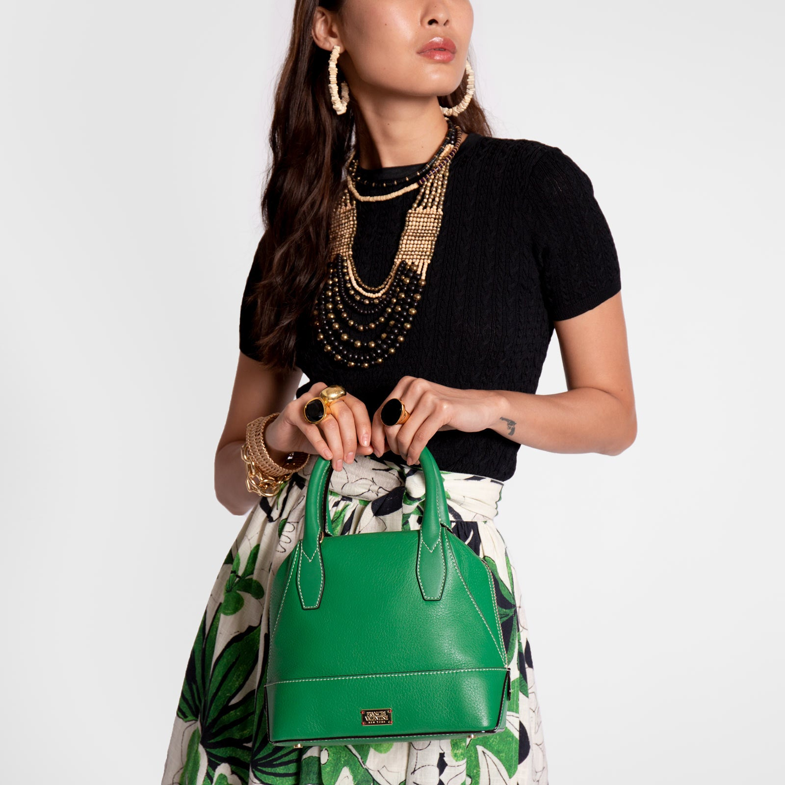 Small Abby Tote Tumbled Leather Green