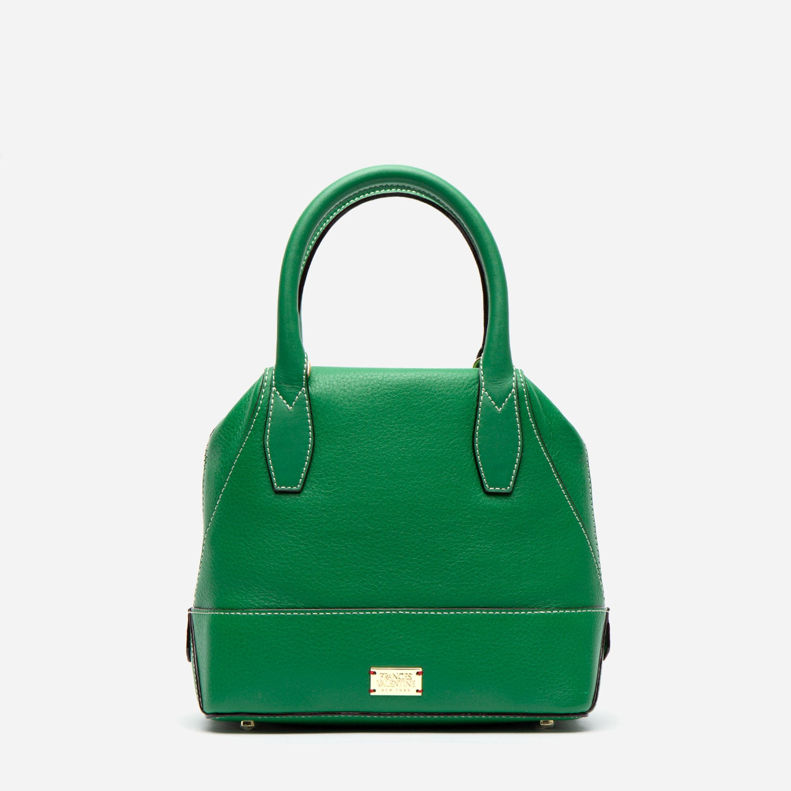 Small Abby Tote Tumbled Leather Green - Frances Valentine