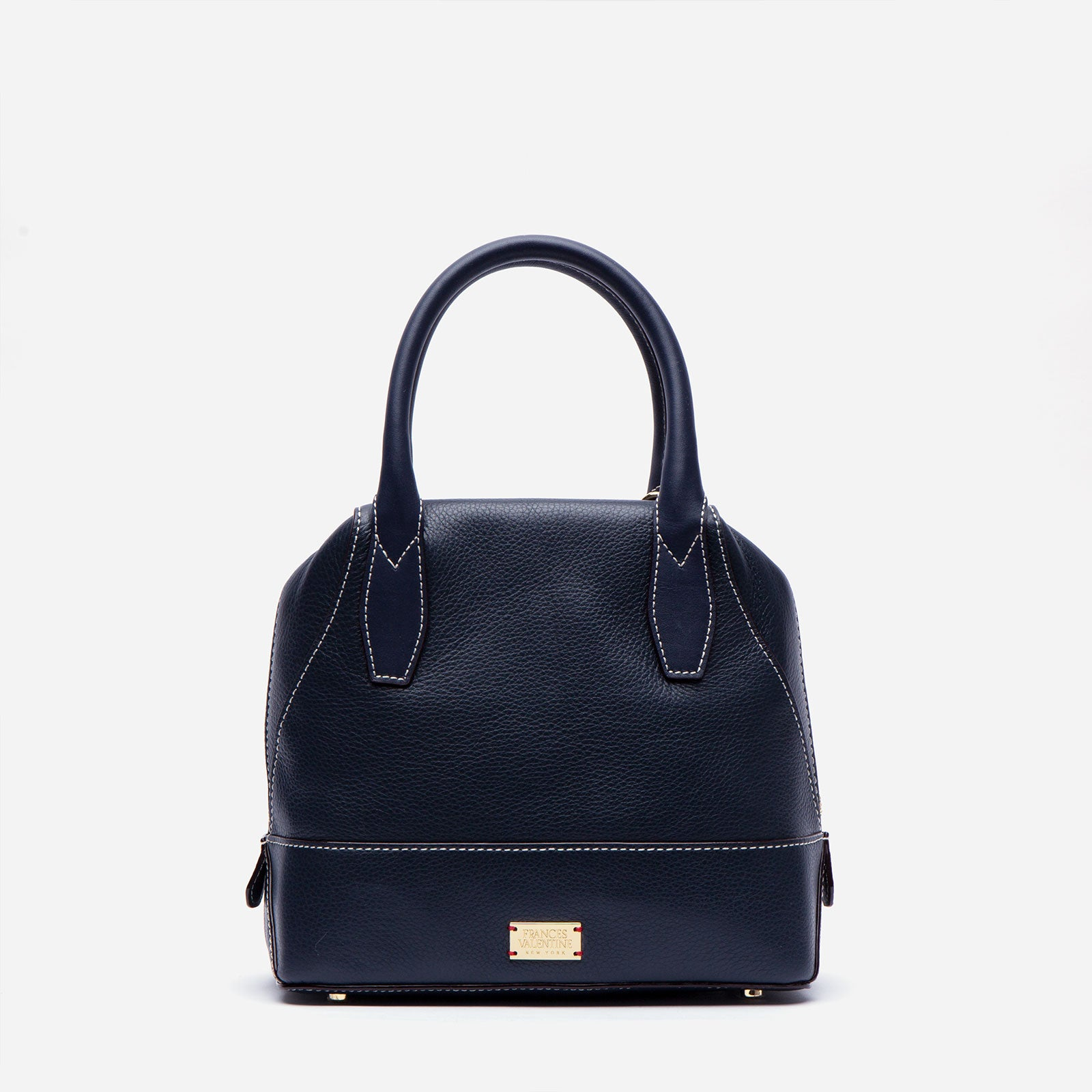 Small Abby Tote Tumbled Leather Navy - Frances Valentine
