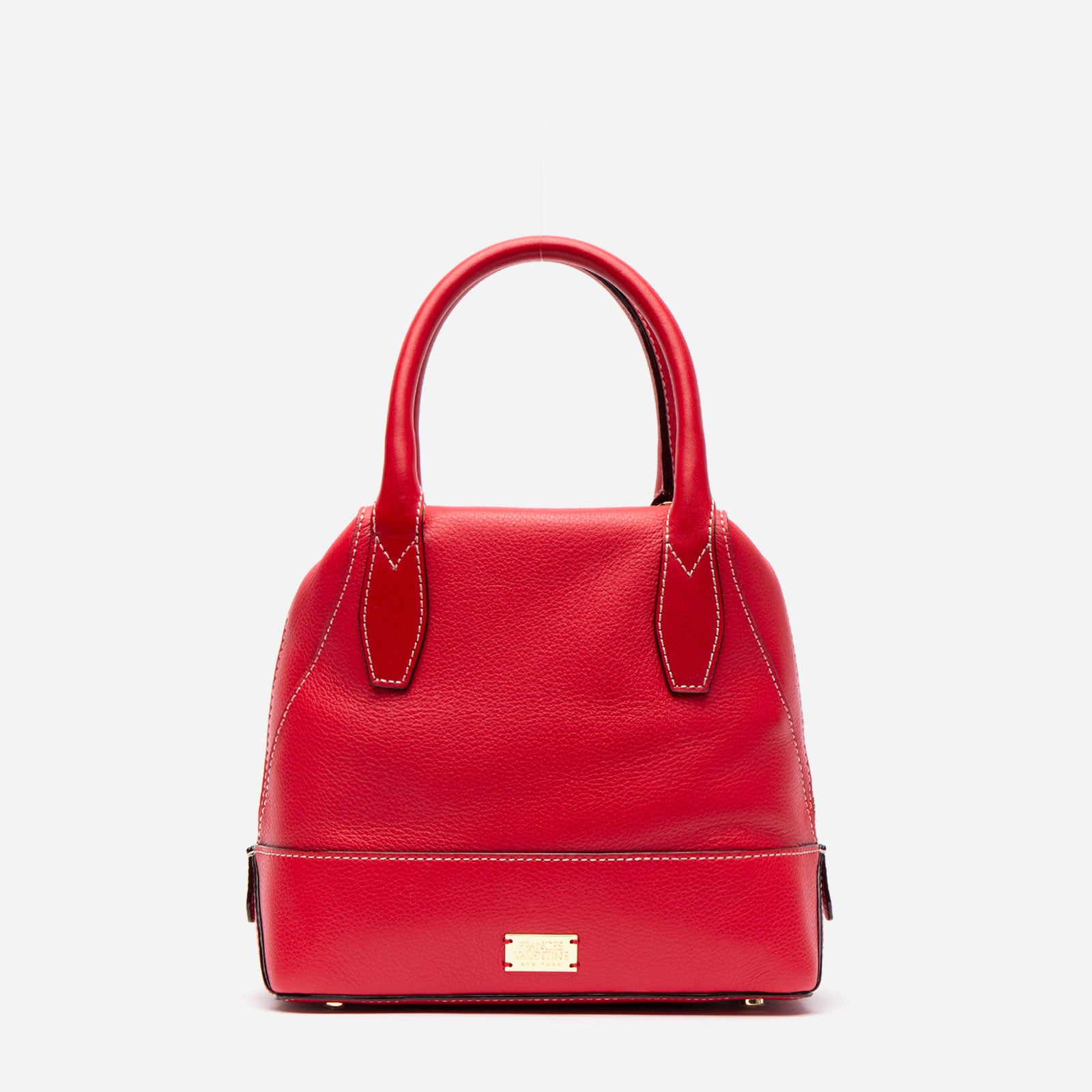 Small Abby Tote Tumbled Leather Red - Frances Valentine