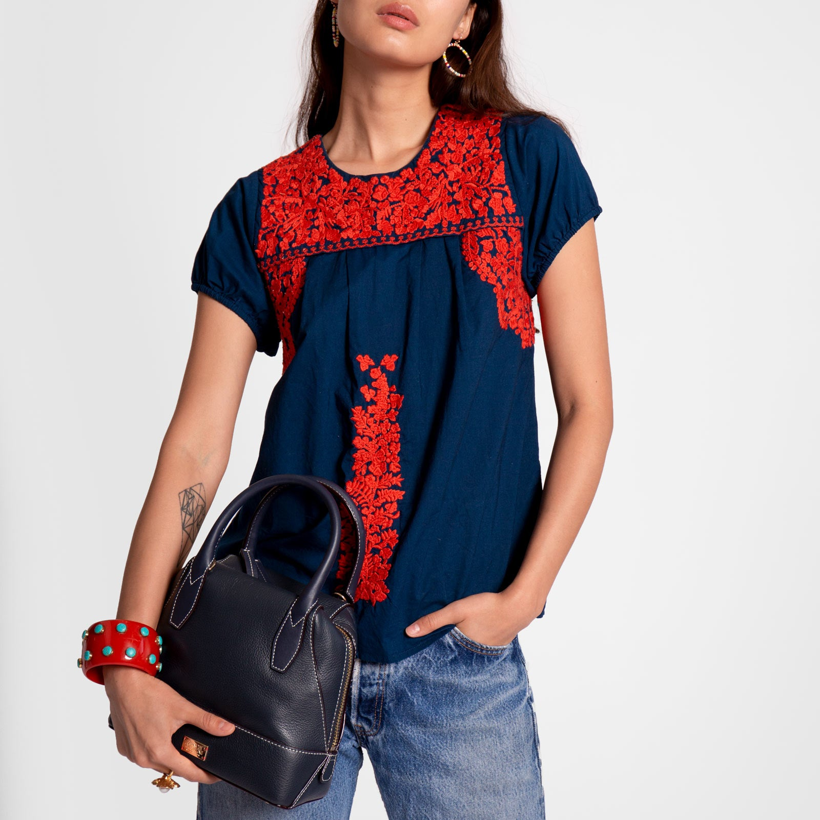 Floral Embroidered Lace Top Navy Red