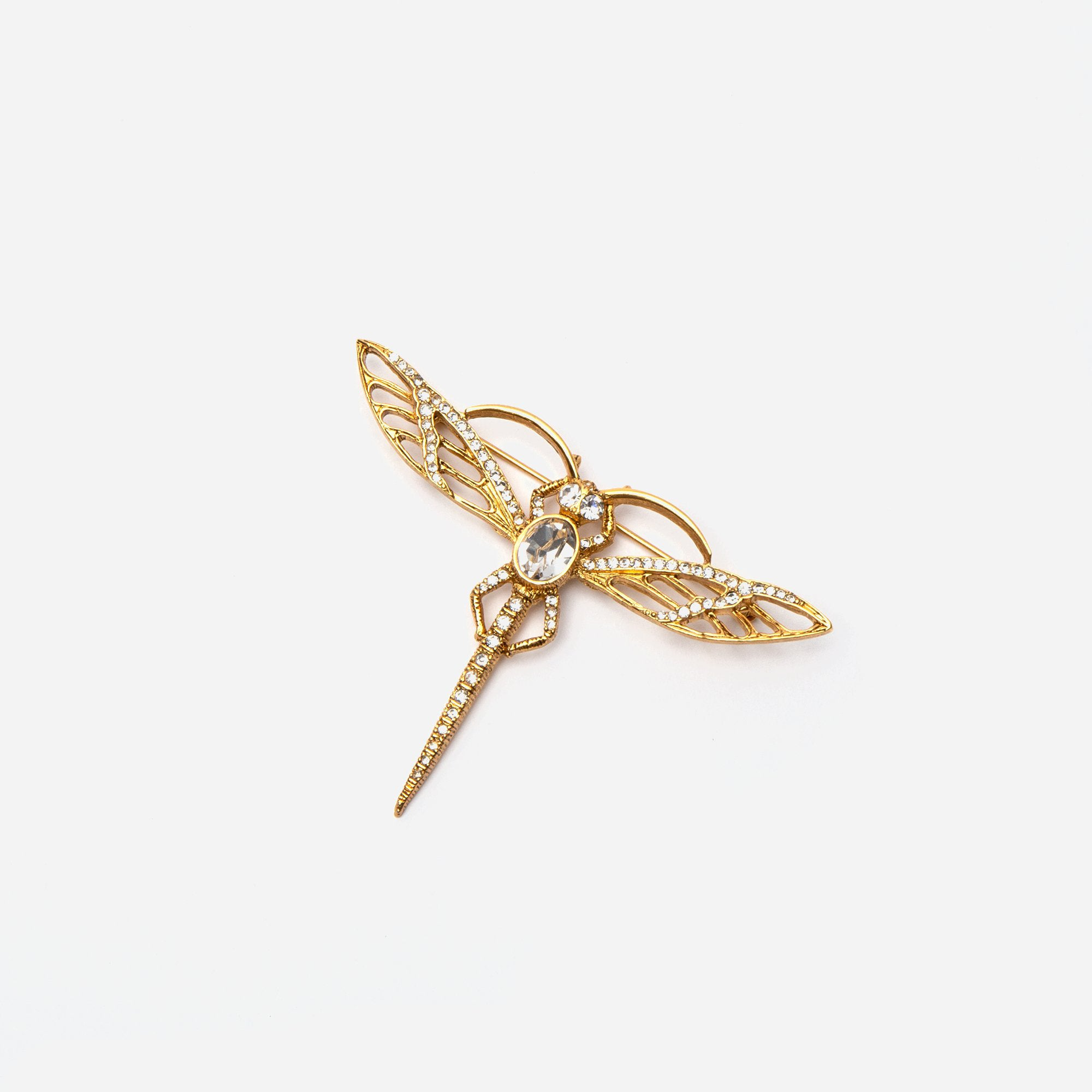 Gold Crystal Dragonfly Pin