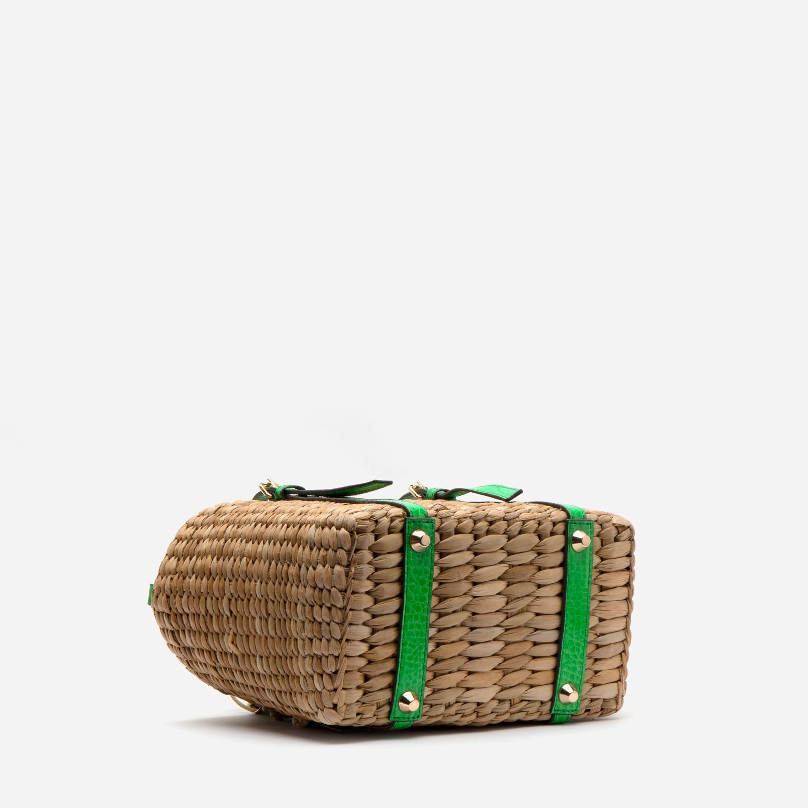Small Woven Basket Tote Green Croc