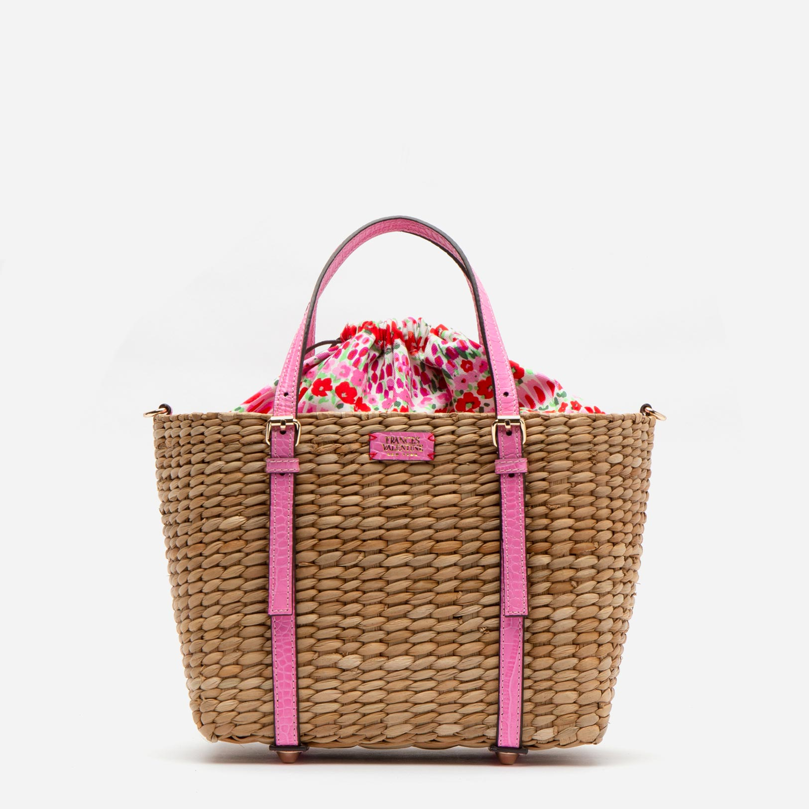 Small Woven Basket Tote Croc Embossed Leather Pink