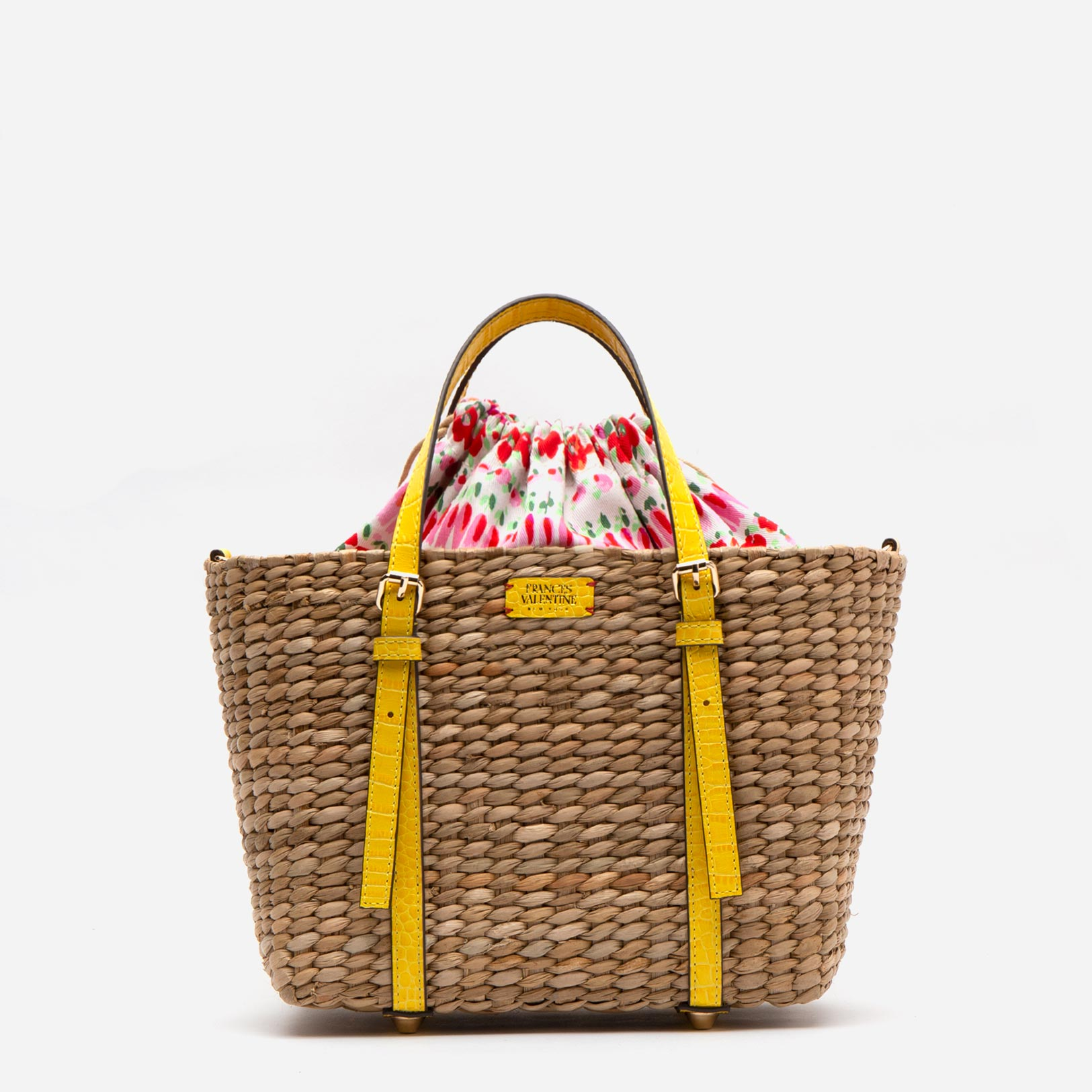 Small Woven Basket Tote Yellow Croc - Frances Valentine