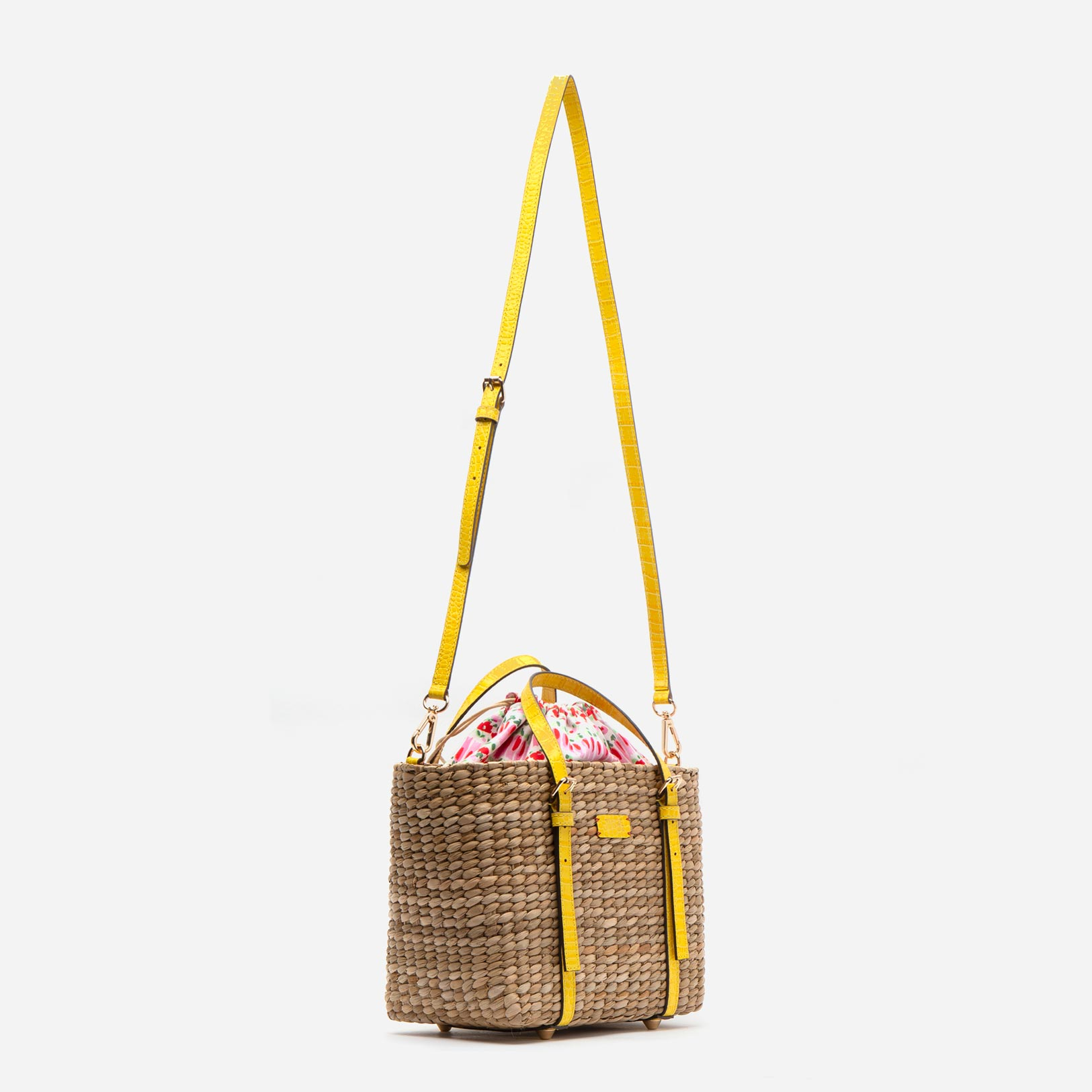 Small Woven Basket Tote Yellow Croc